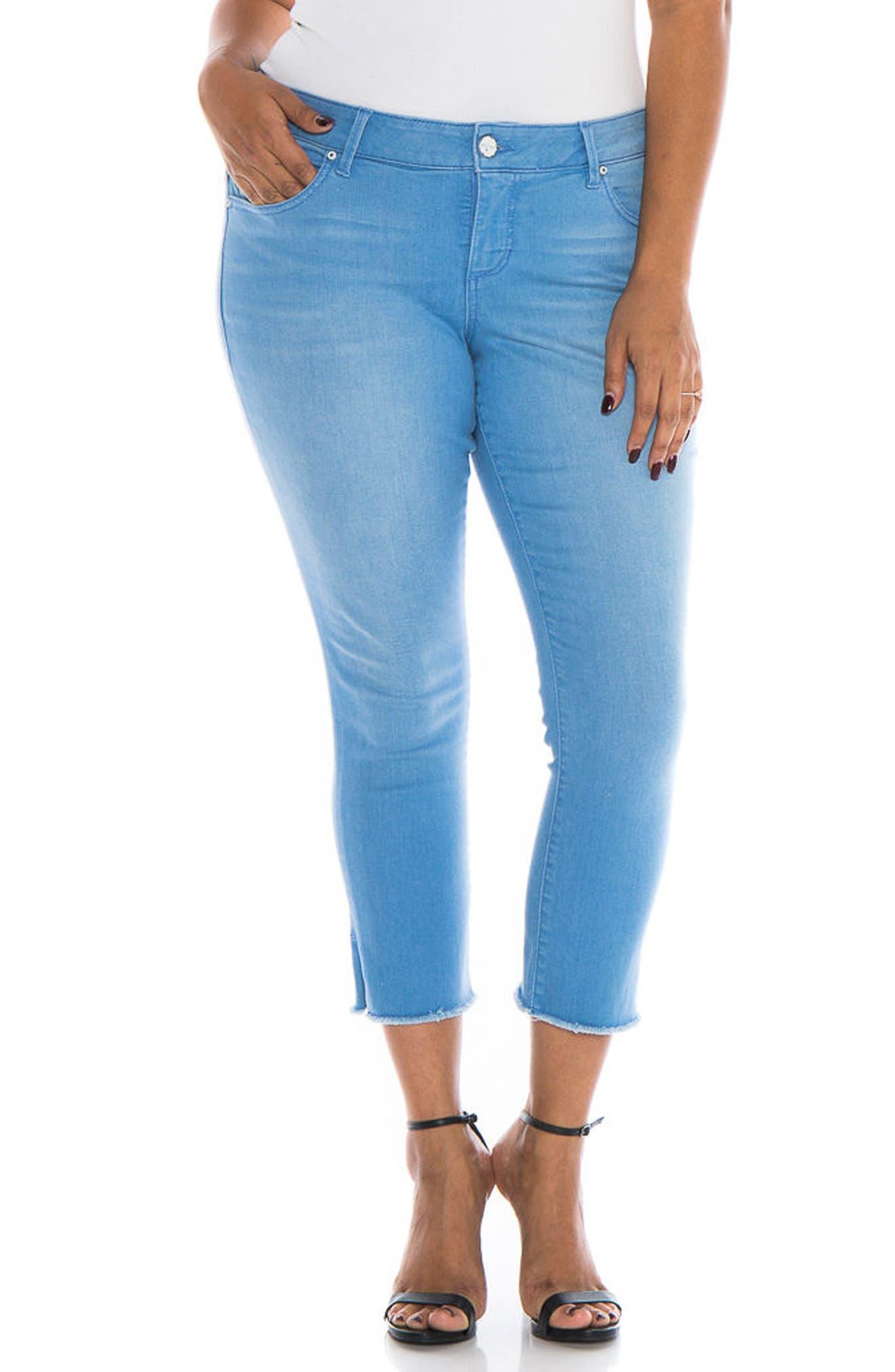 SLINK JEANS,                             Fray Hem Crop Skinny Jeans,                             Main thumbnail 1, color,                             453