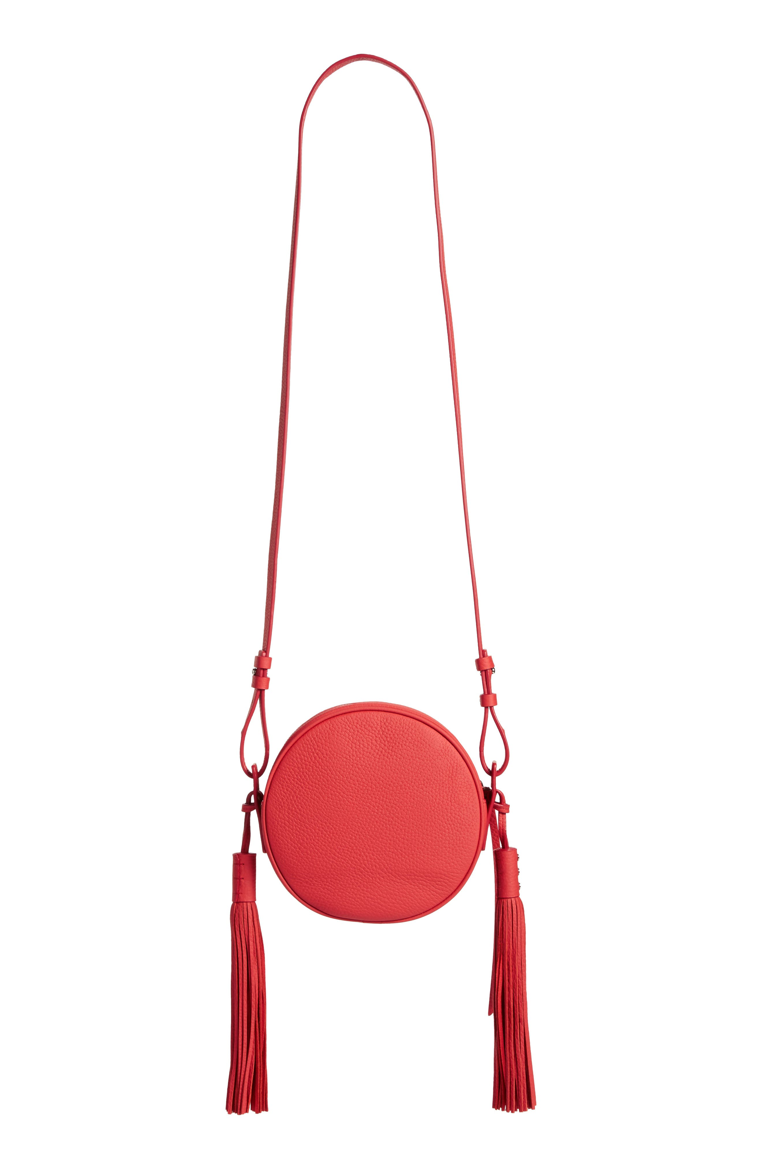 Kepi Circle Leather Crossbody Bag,                             Alternate thumbnail 3, color,                             CORAL RED