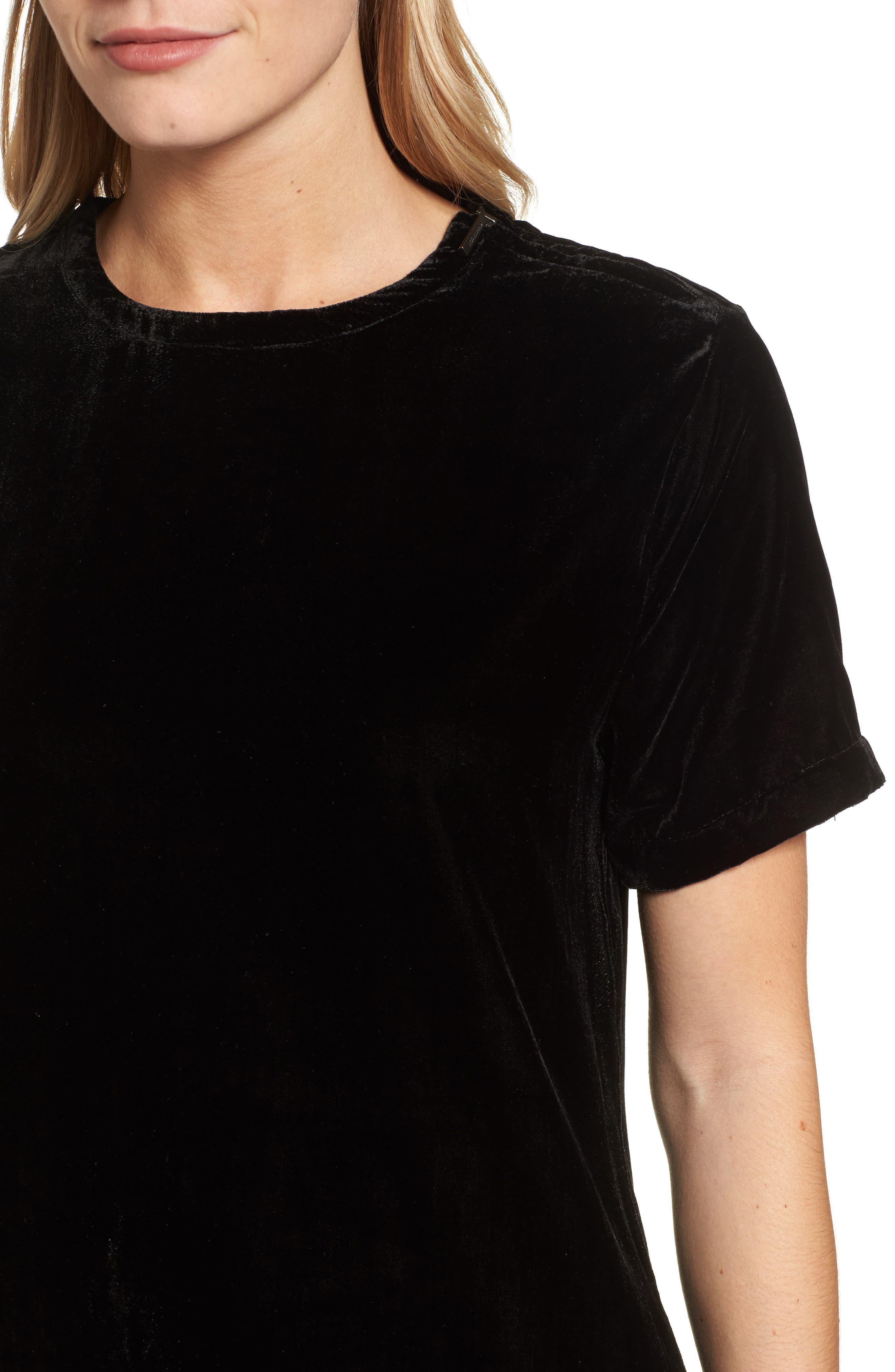 Zip Shoulder Velvet Shift Dress,                             Alternate thumbnail 4, color,                             001