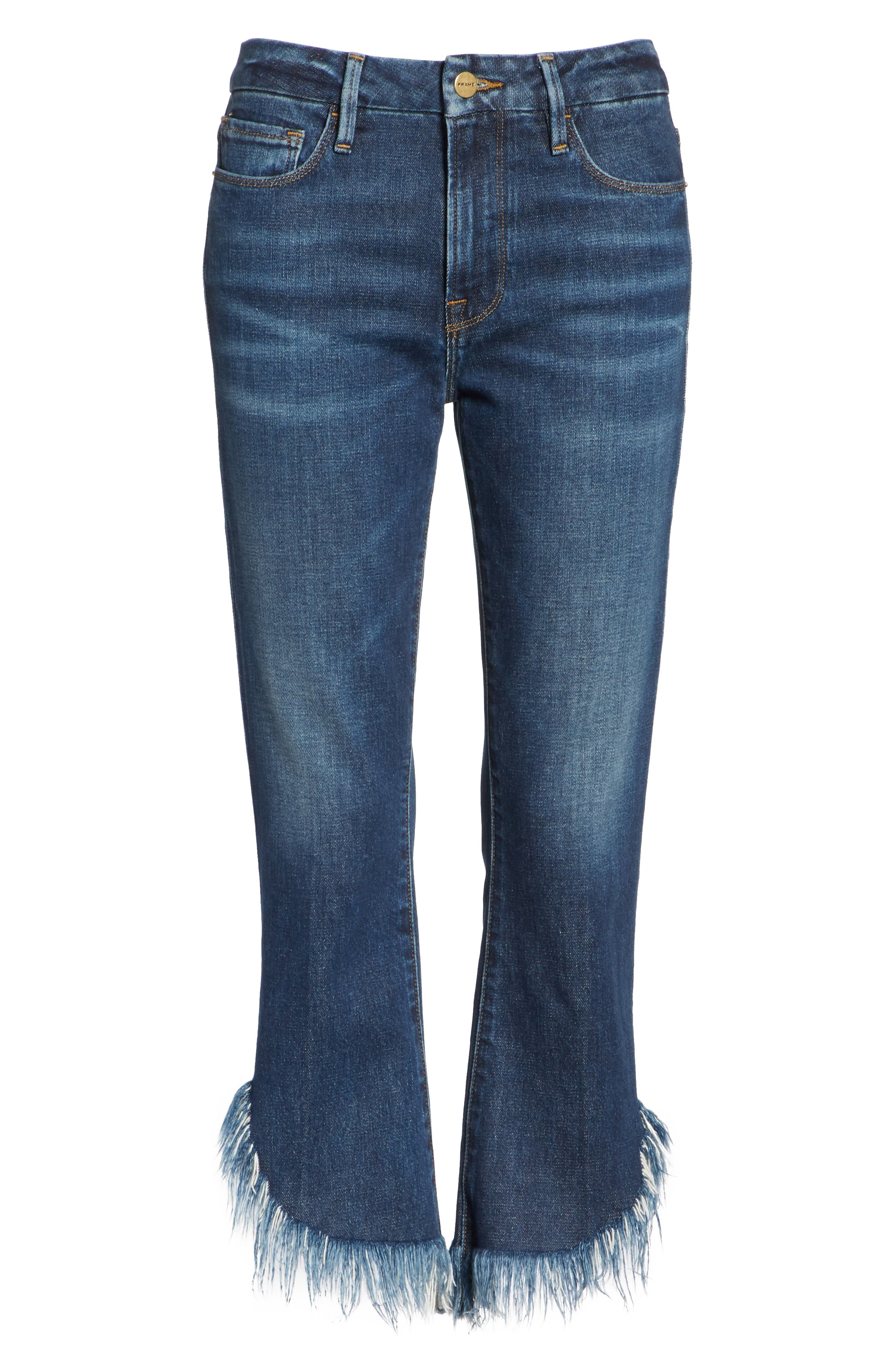 Le Crop Mini Boot Shredded Crop Hem Jeans,                             Alternate thumbnail 6, color,                             BAYBERRY