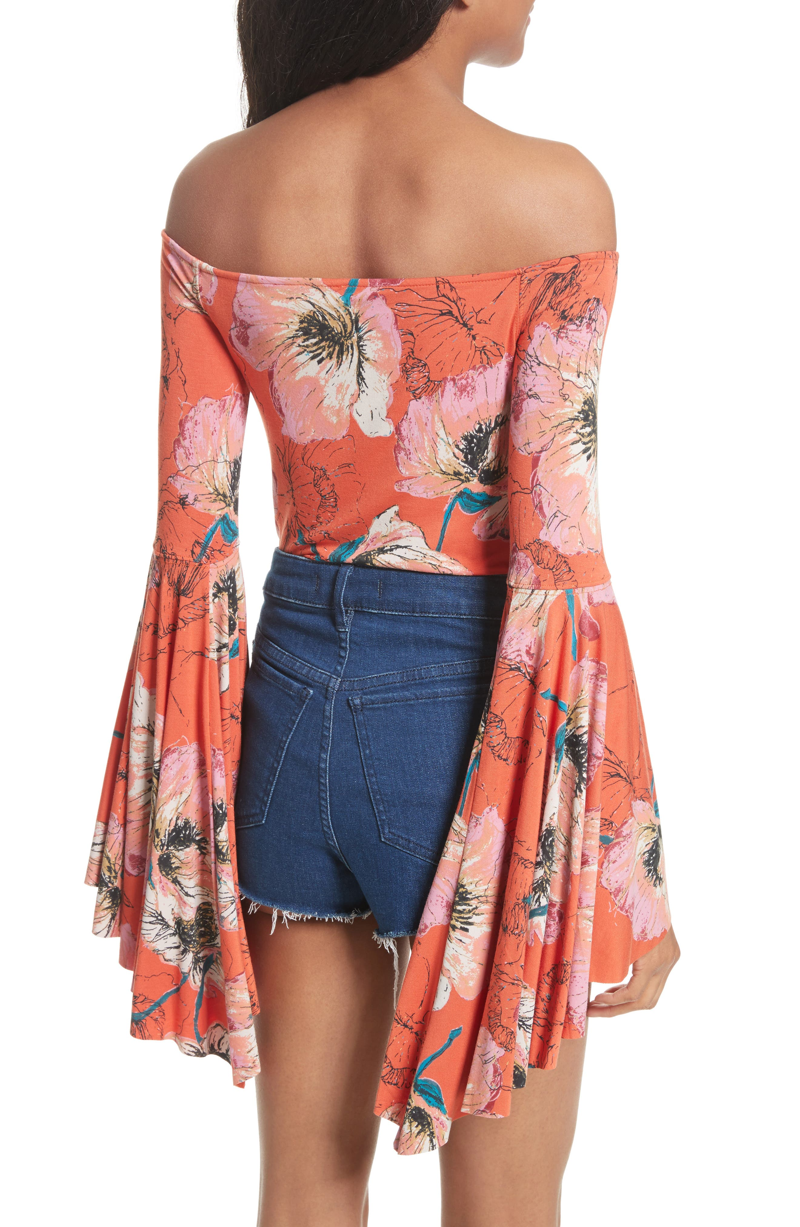 Birds of Paradise Print Off the Shoulder Top,                             Alternate thumbnail 8, color,
