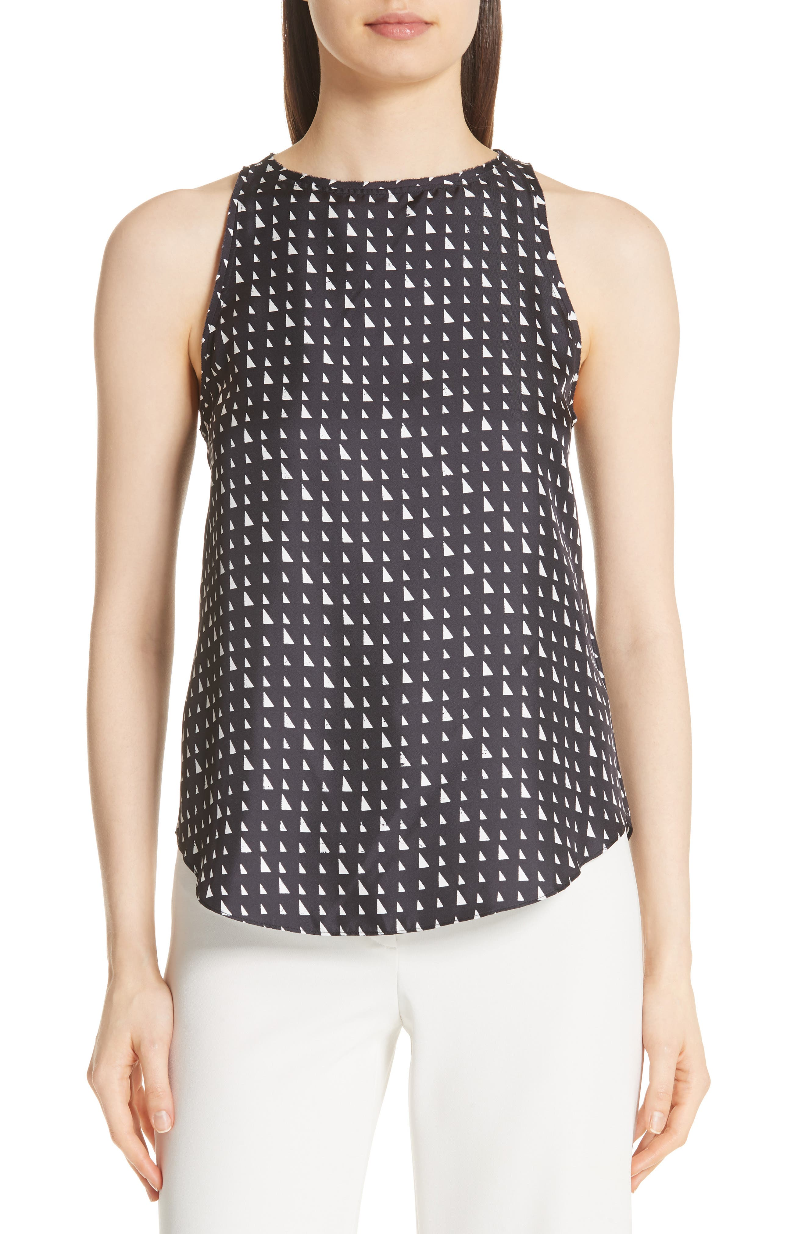 THEORY Racerback Silk Shell Top, Main, color, 010