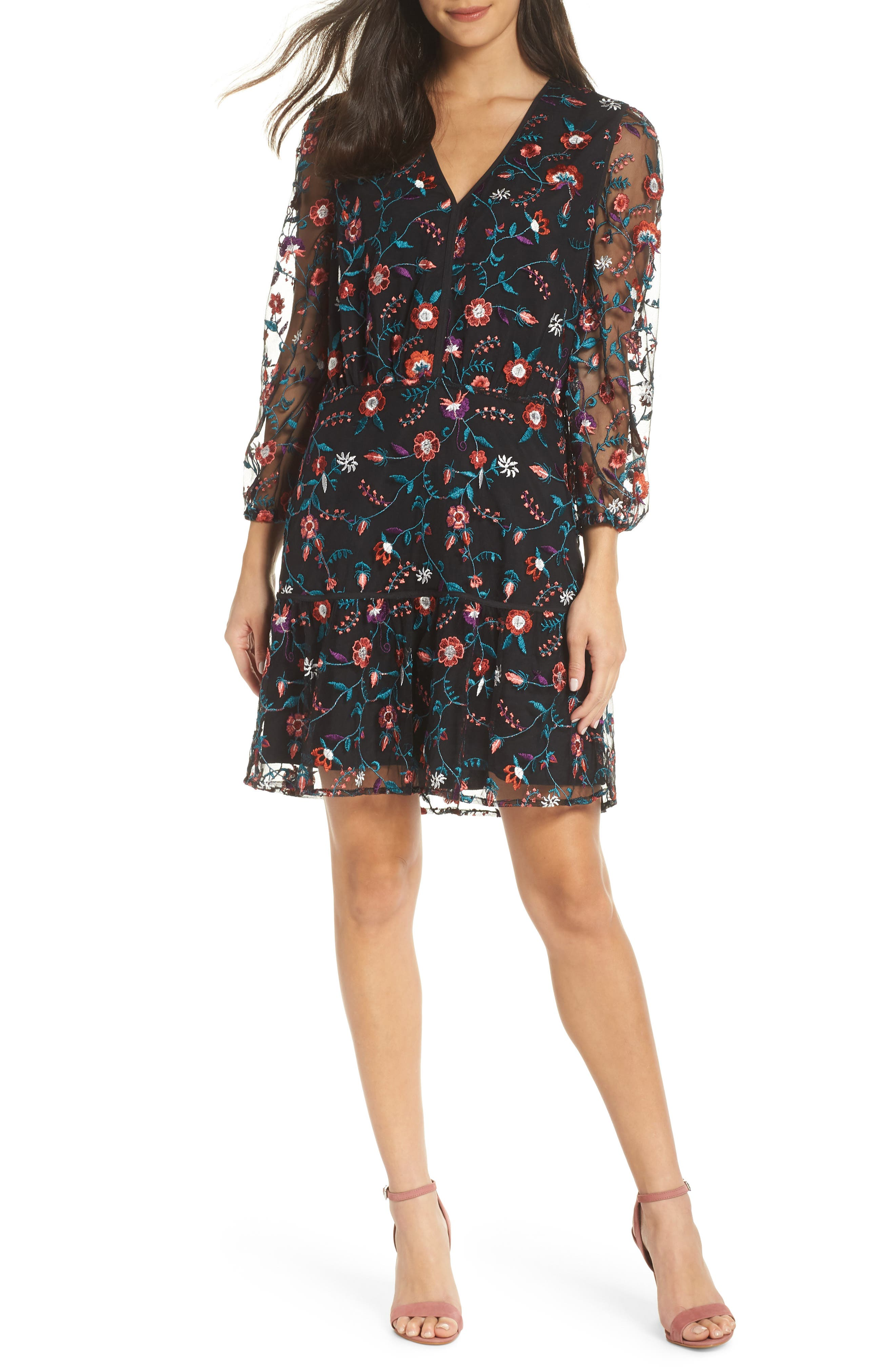 Sam Edelman Embroidered Mesh Dress, Black