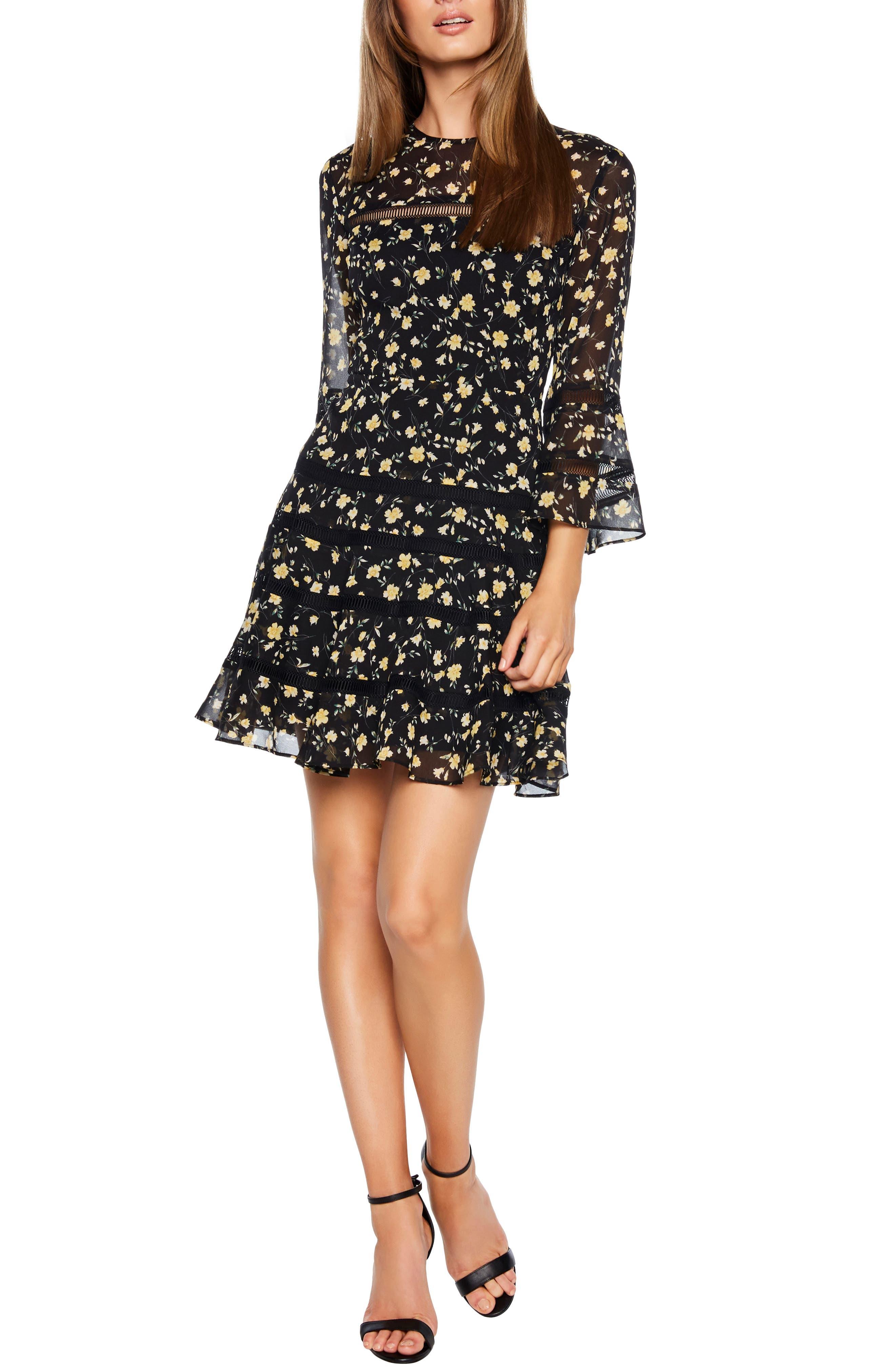 Bardot Poppy Print Minidress, Black