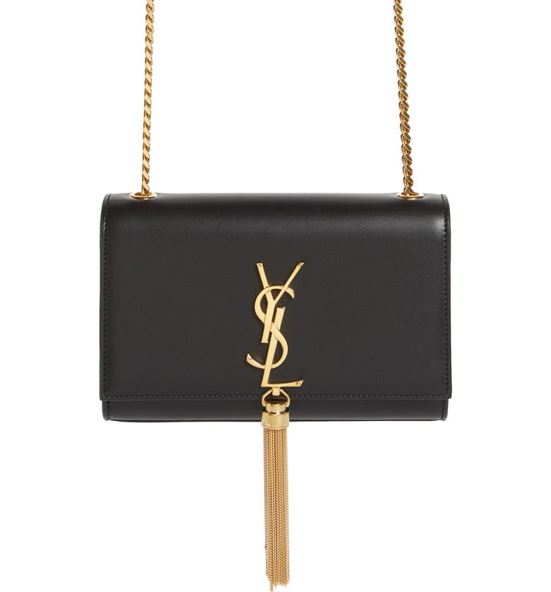 df0fa03e0b31 Saint Laurent Kate Monogram Ysl Small Tassel Shoulder Bag With Golden  Hardware In Nero
