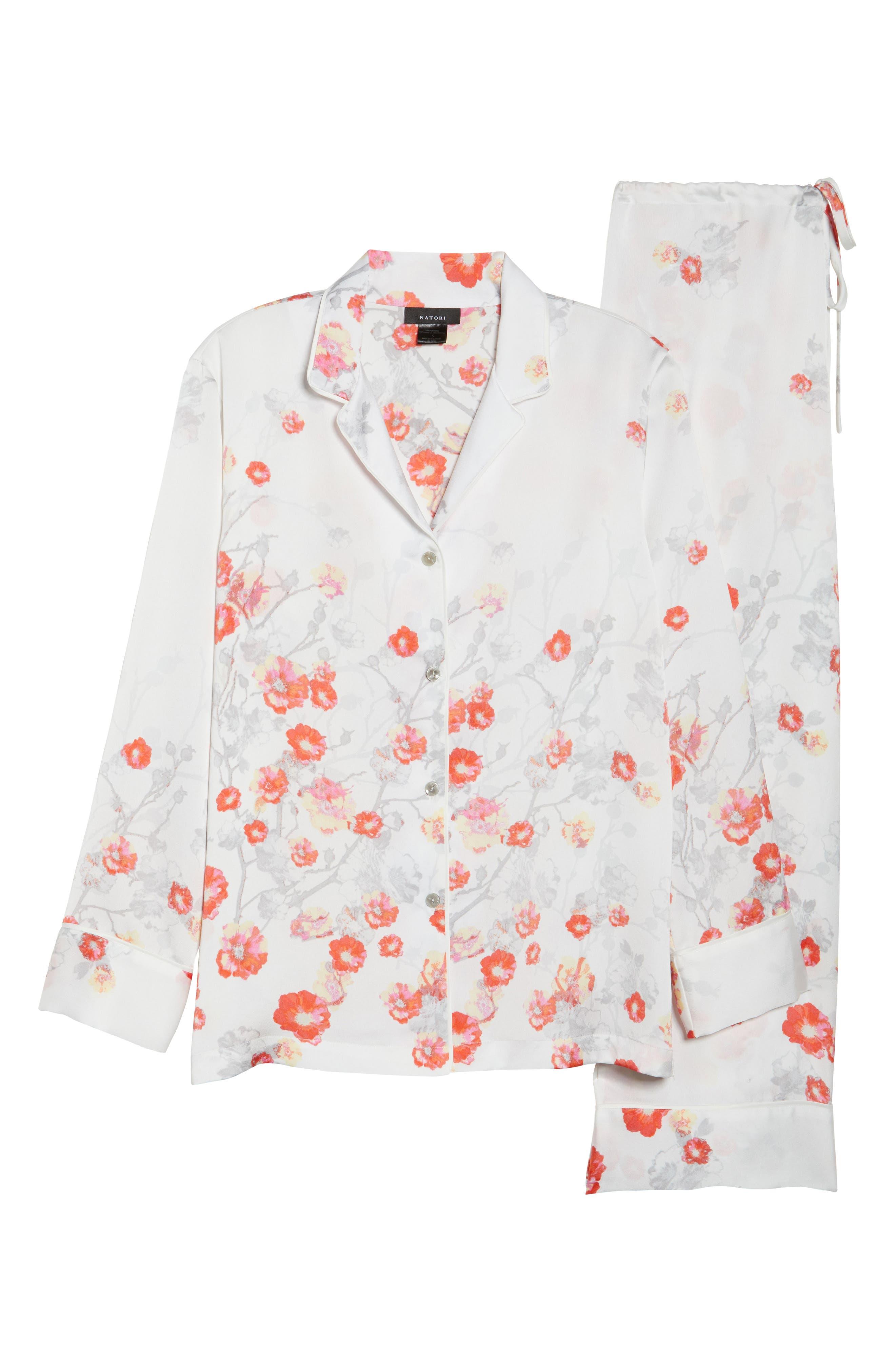 Blossom Print Satin Pajamas,                             Alternate thumbnail 6, color,                             905