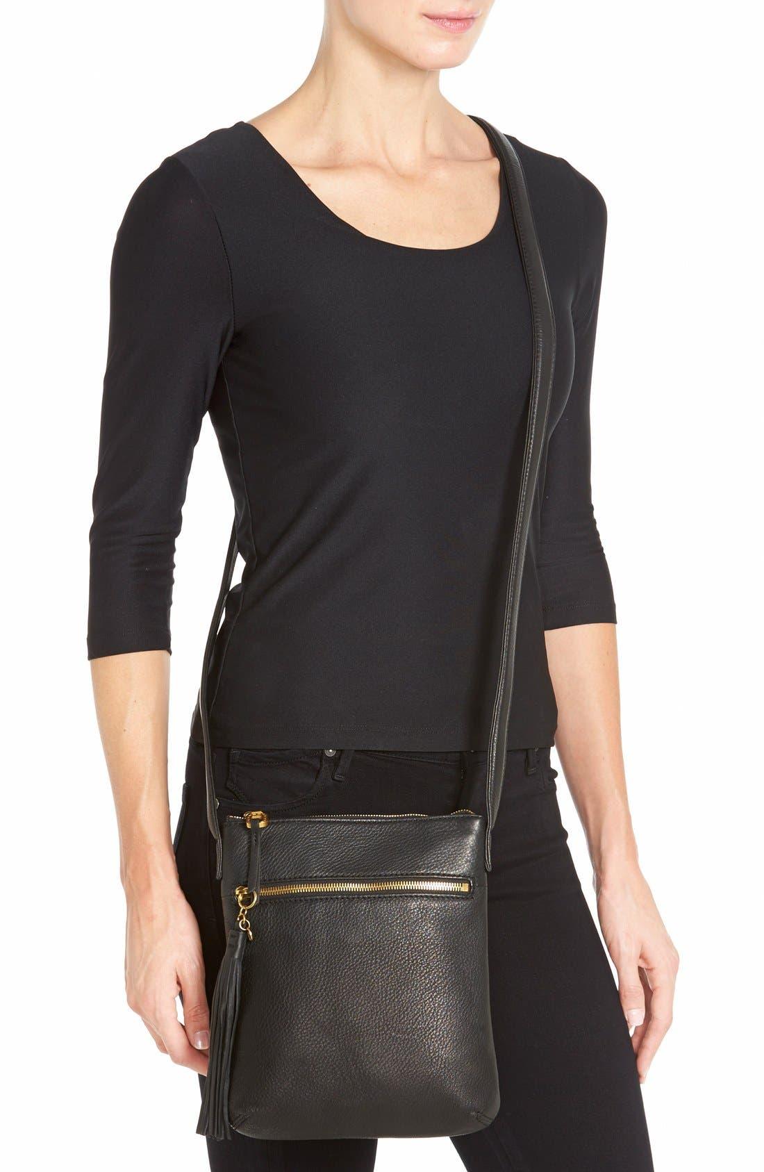 'Sarah' Leather Crossbody Bag,                             Alternate thumbnail 8, color,