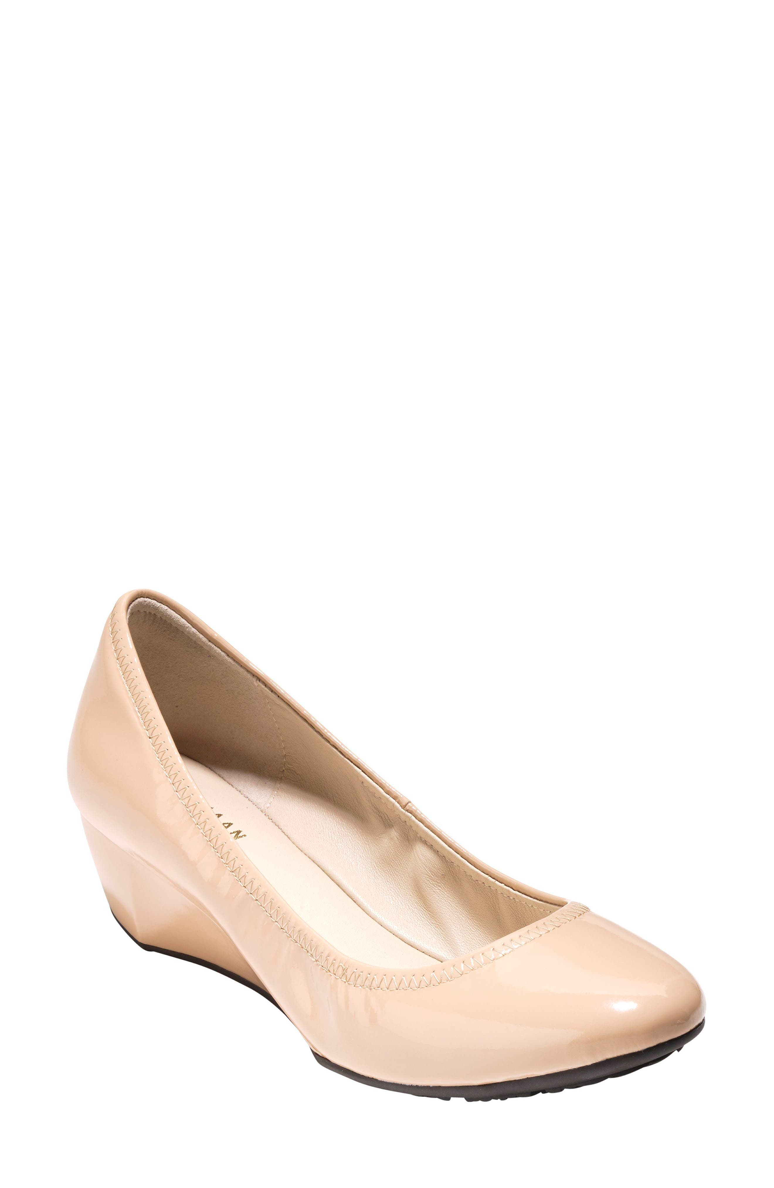 Sadie Grand Patent Wedge Pump, Nude in Nude Patent Leather