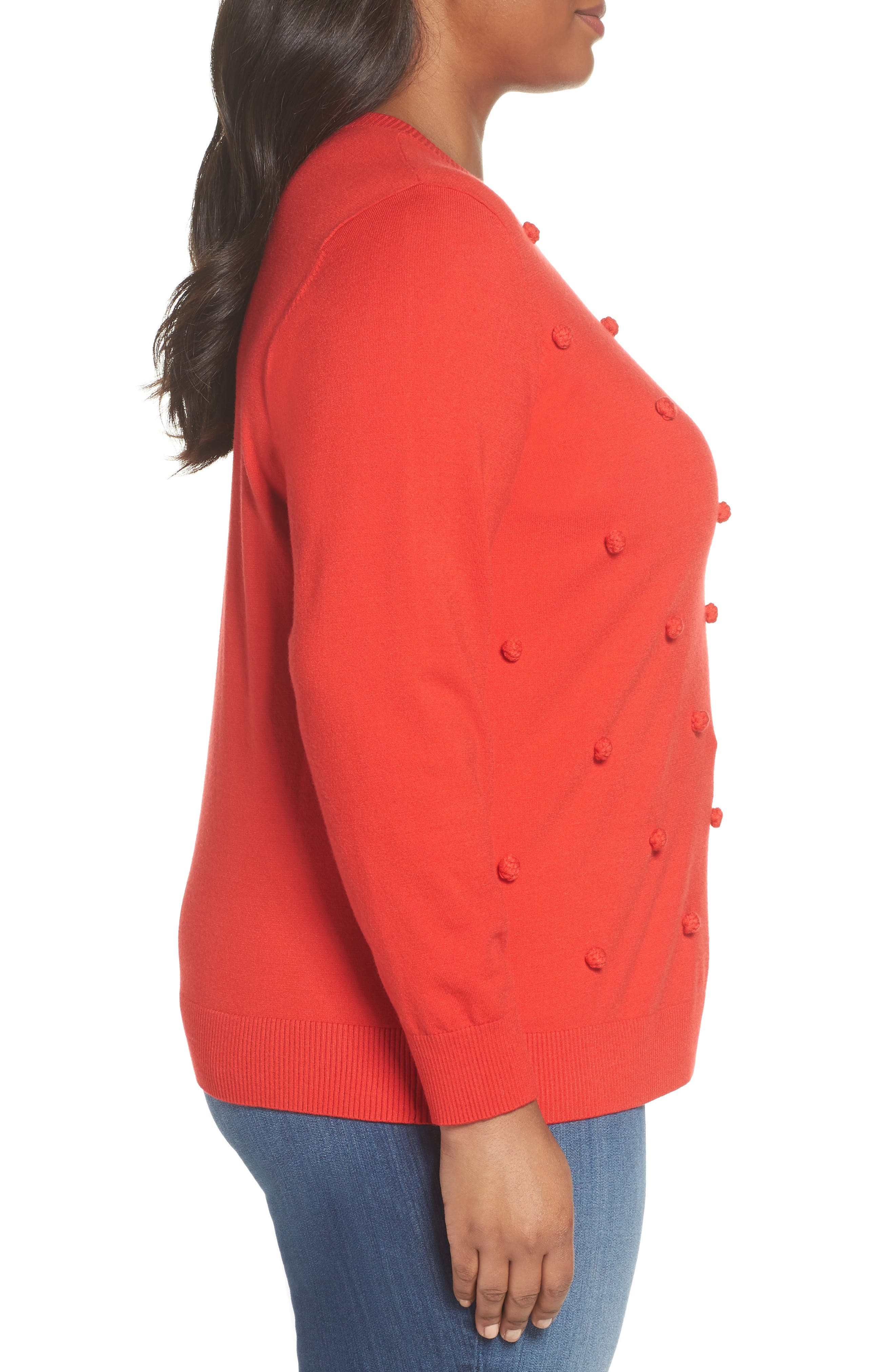 Popcorn Stitch Sweater,                             Alternate thumbnail 3, color,                             RED TOMATO