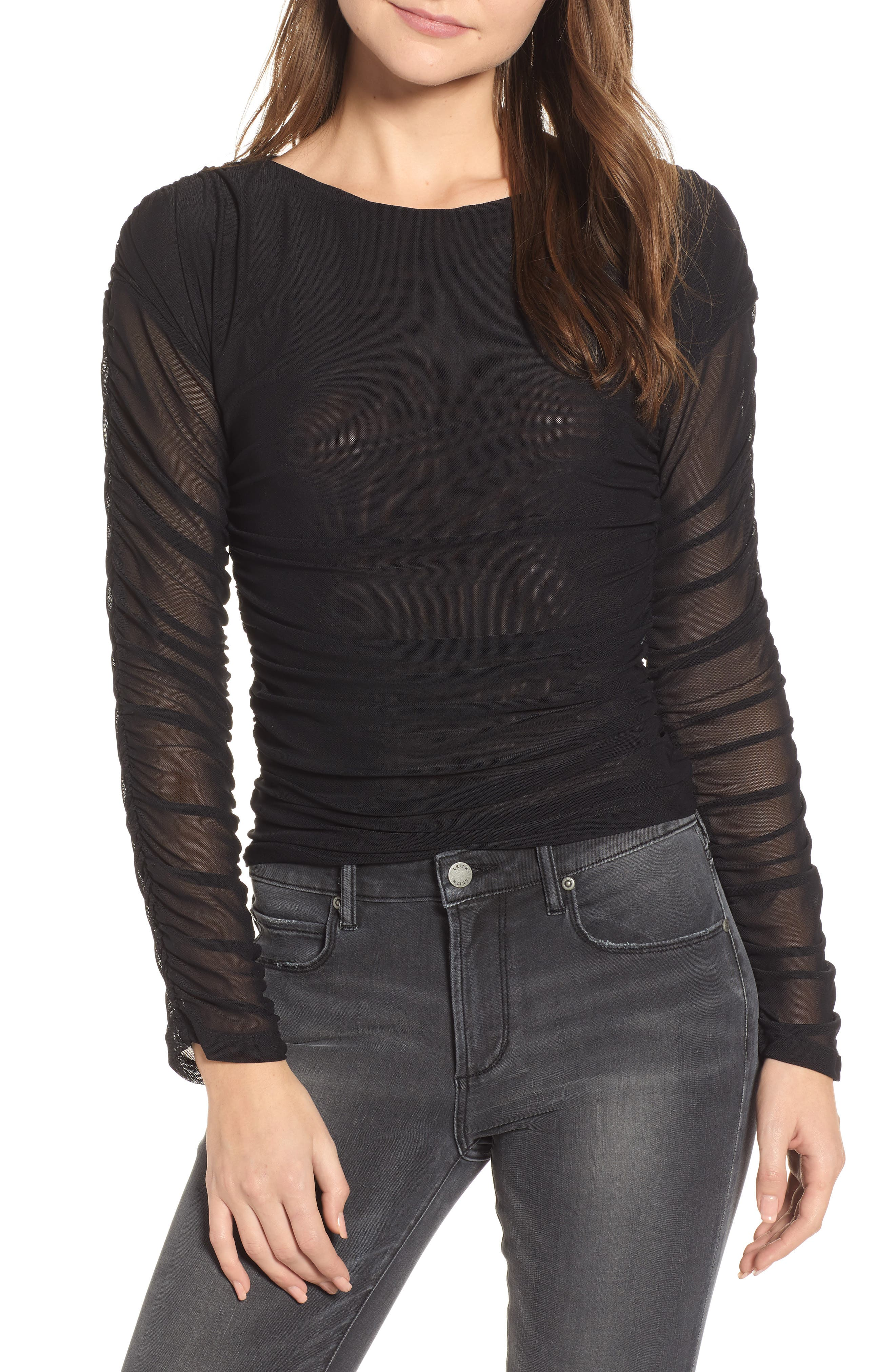 ENDLESS ROSE Ruched Illusion Mesh Top in Black