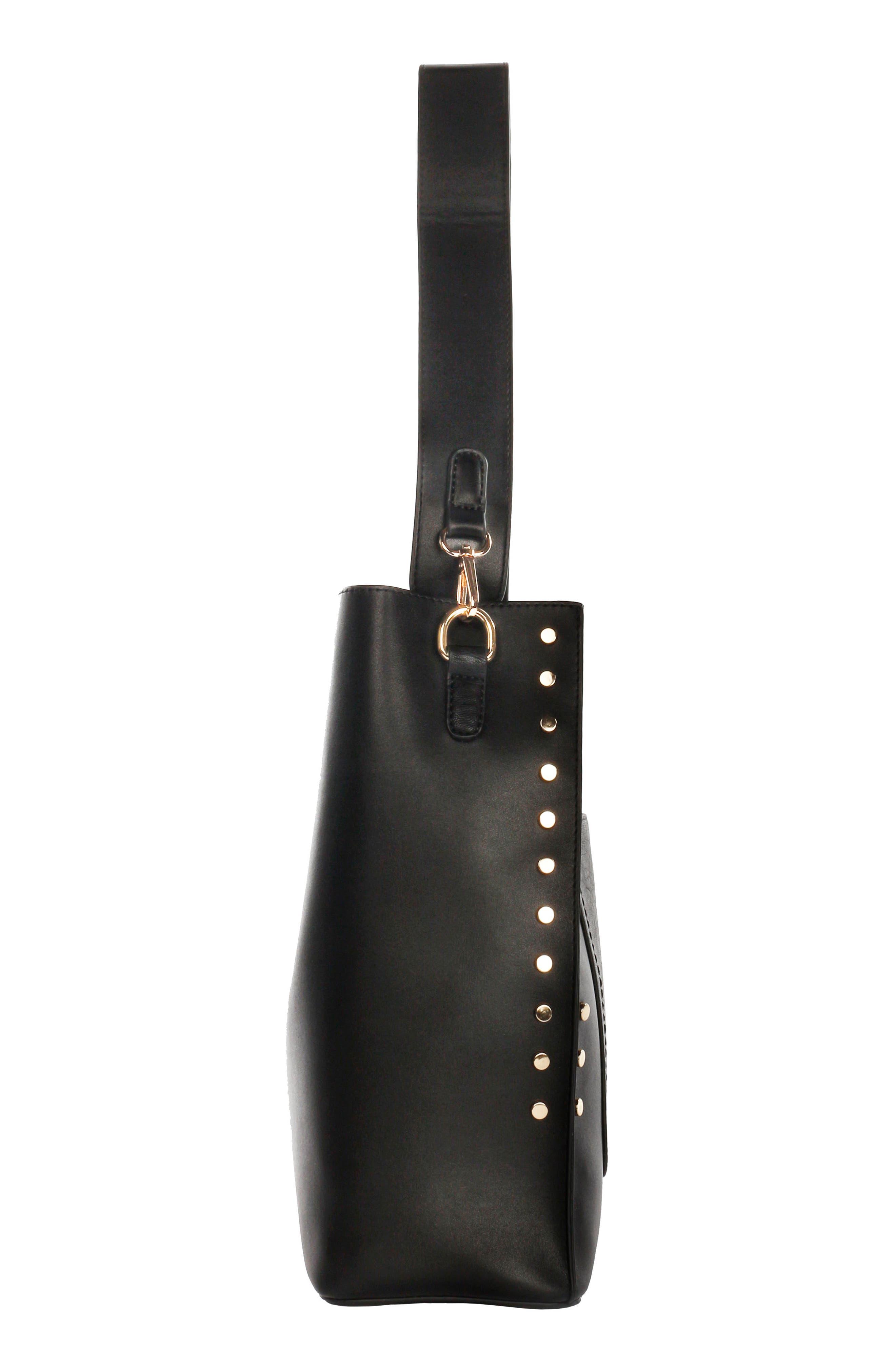 Céline Dion Pizzicato Faux Leather Hobo Bag,                             Alternate thumbnail 4, color,                             001