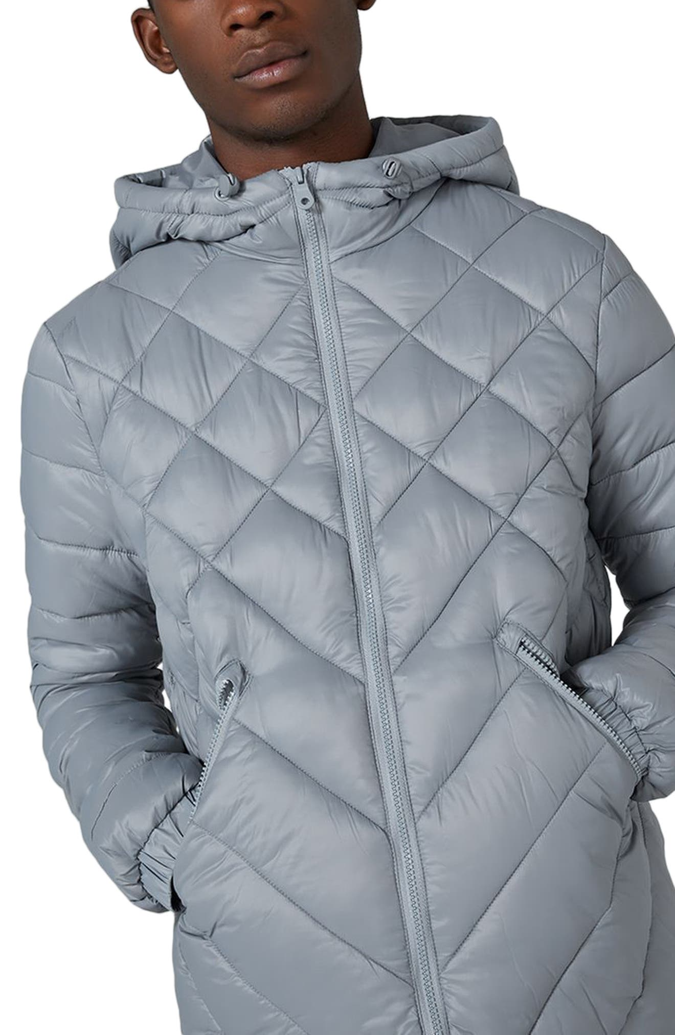 Hooded Quilted Jacket,                             Alternate thumbnail 3, color,                             020