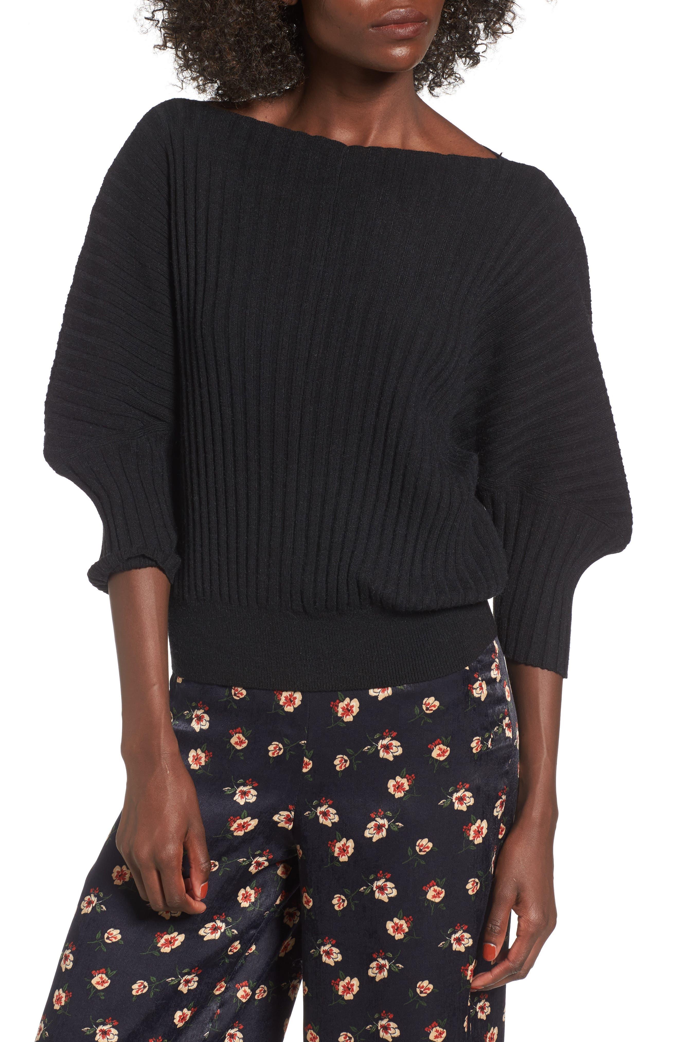 Rib Knit Blouson Sweater,                             Main thumbnail 1, color,                             001