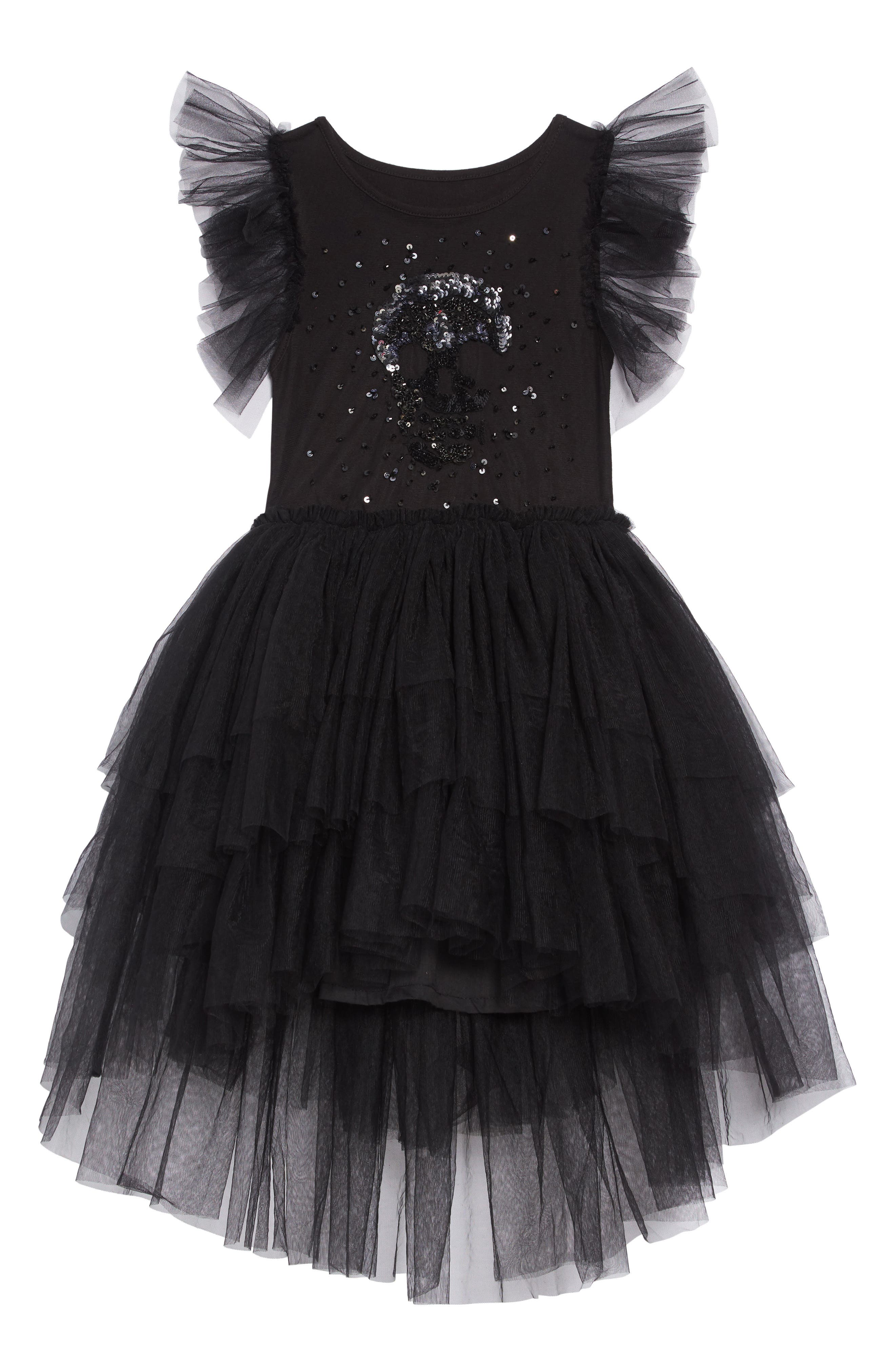 Sequin Embroidered Tulle Dress,                         Main,                         color, BLACK