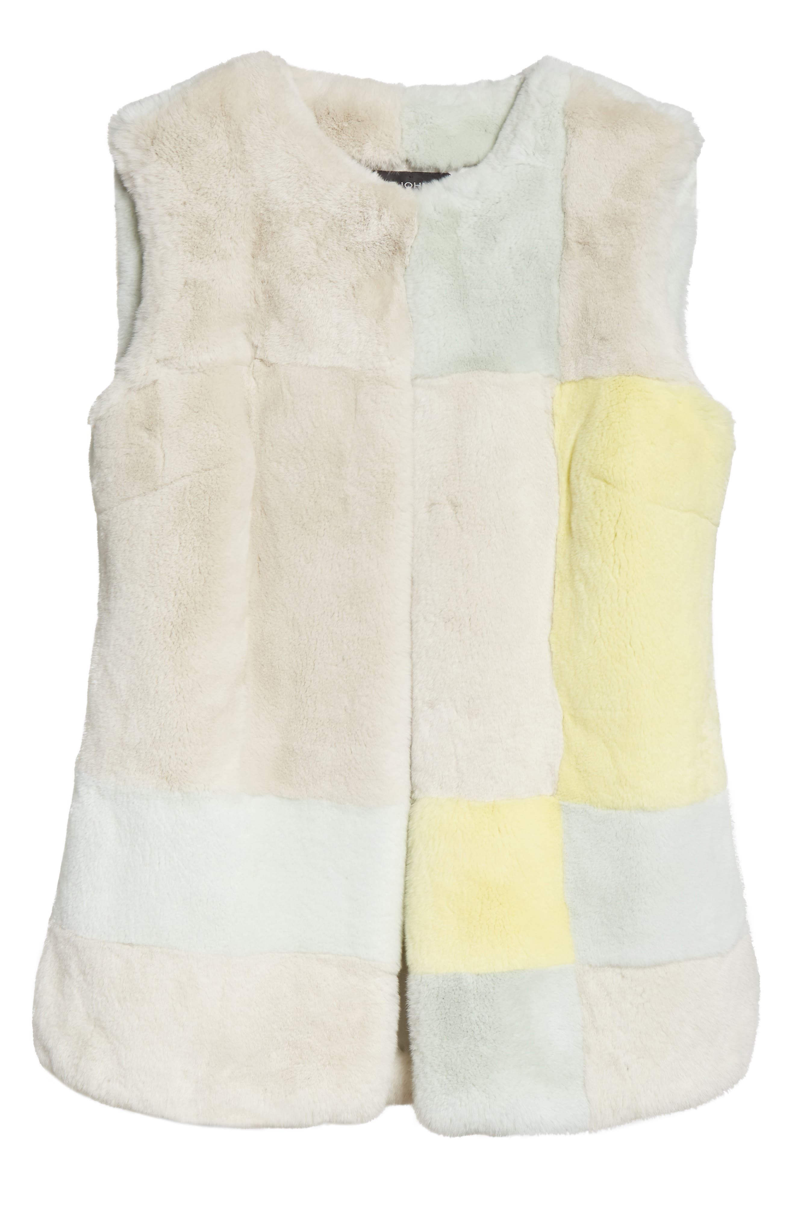 Genuine Rabbit Fur Intarsia Vest,                             Alternate thumbnail 5, color,                             205