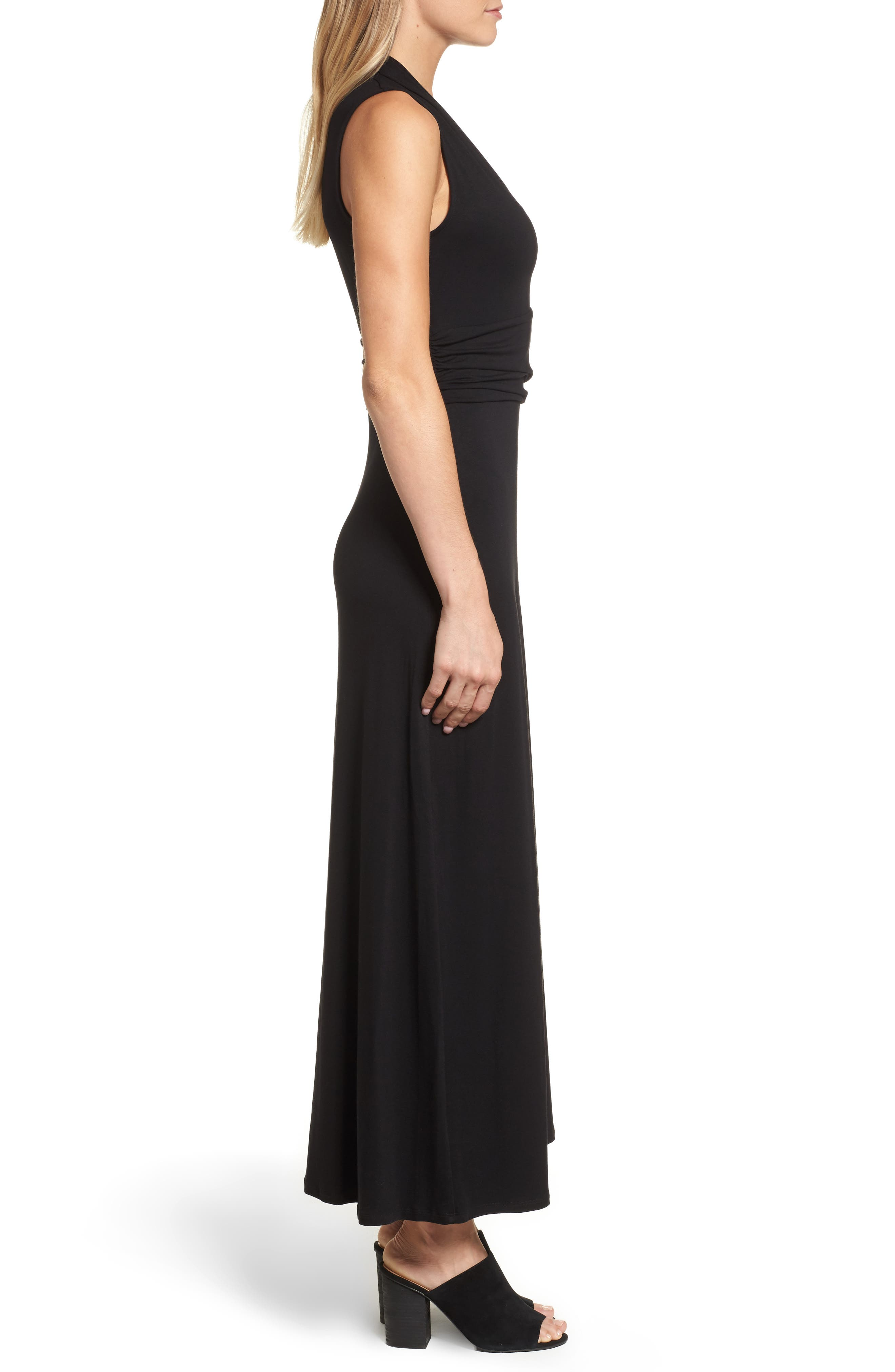 V-Neck Maxi Dress,                             Alternate thumbnail 4, color,                             RICH BLACK