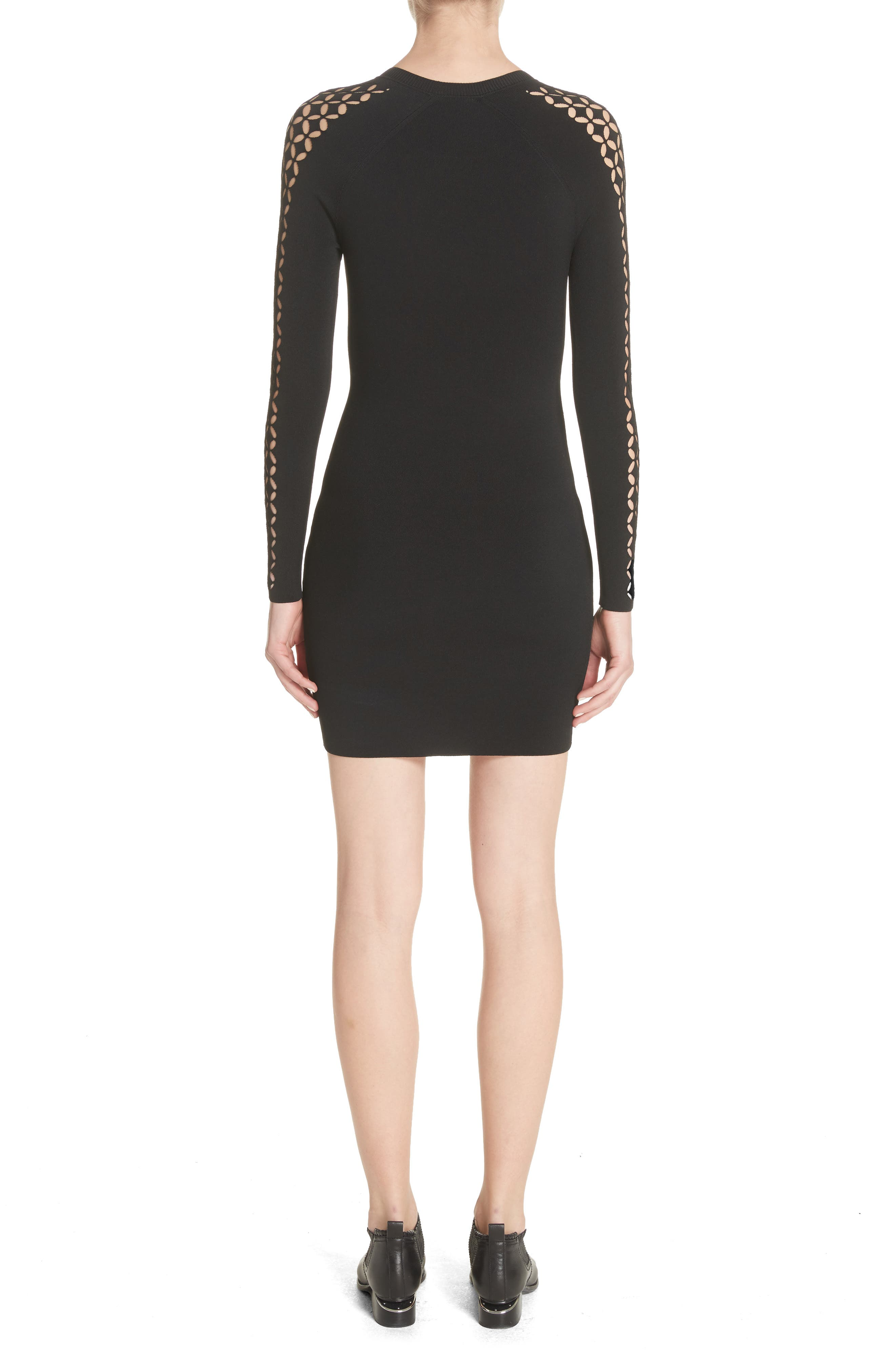 Open Knit Sleeve Dress,                             Alternate thumbnail 2, color,                             001