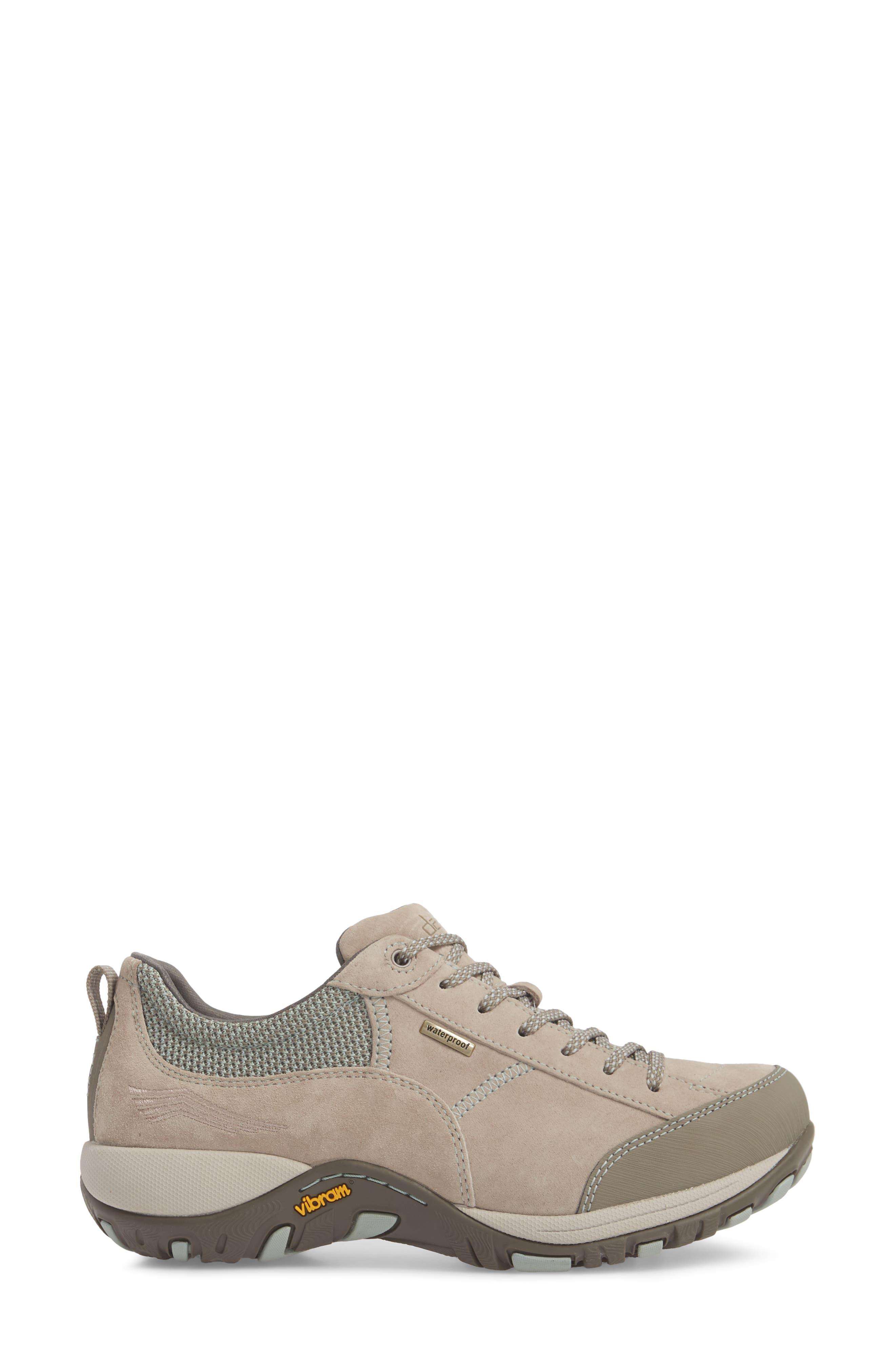 Paisley Waterproof Sneaker,                             Alternate thumbnail 3, color,                             STONE SUEDE