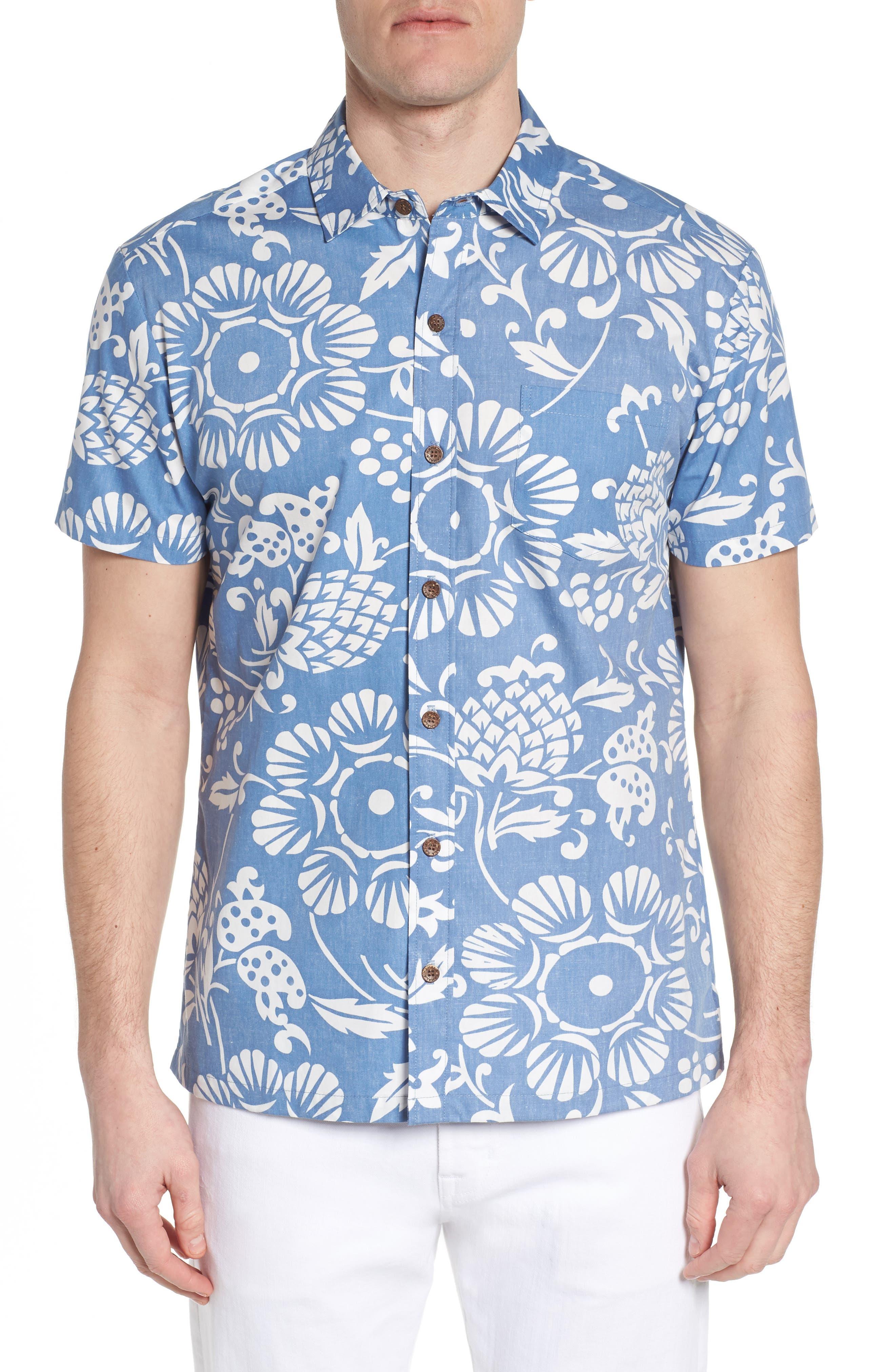 Duke's Pareo Trim Fit Sport Shirt,                             Main thumbnail 1, color,                             WAVE