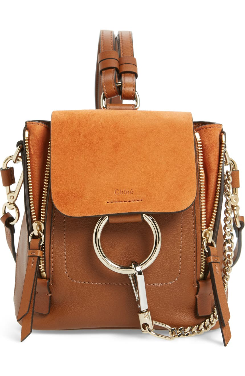 Chloé Mini Faye Leather   Suede Backpack  bd6d693626a54