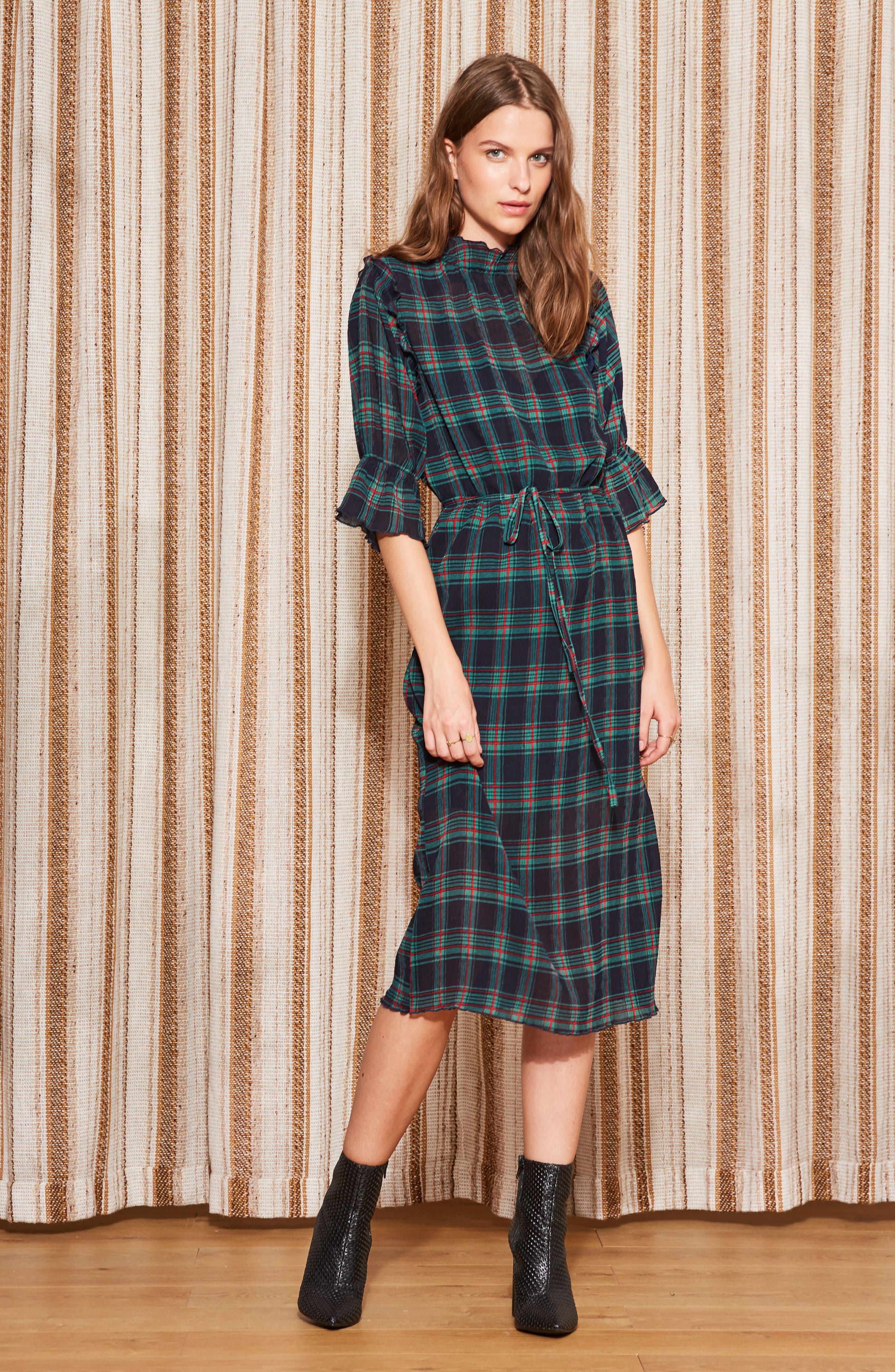 Zone Tartan Midi Dress,                             Alternate thumbnail 8, color,                             400
