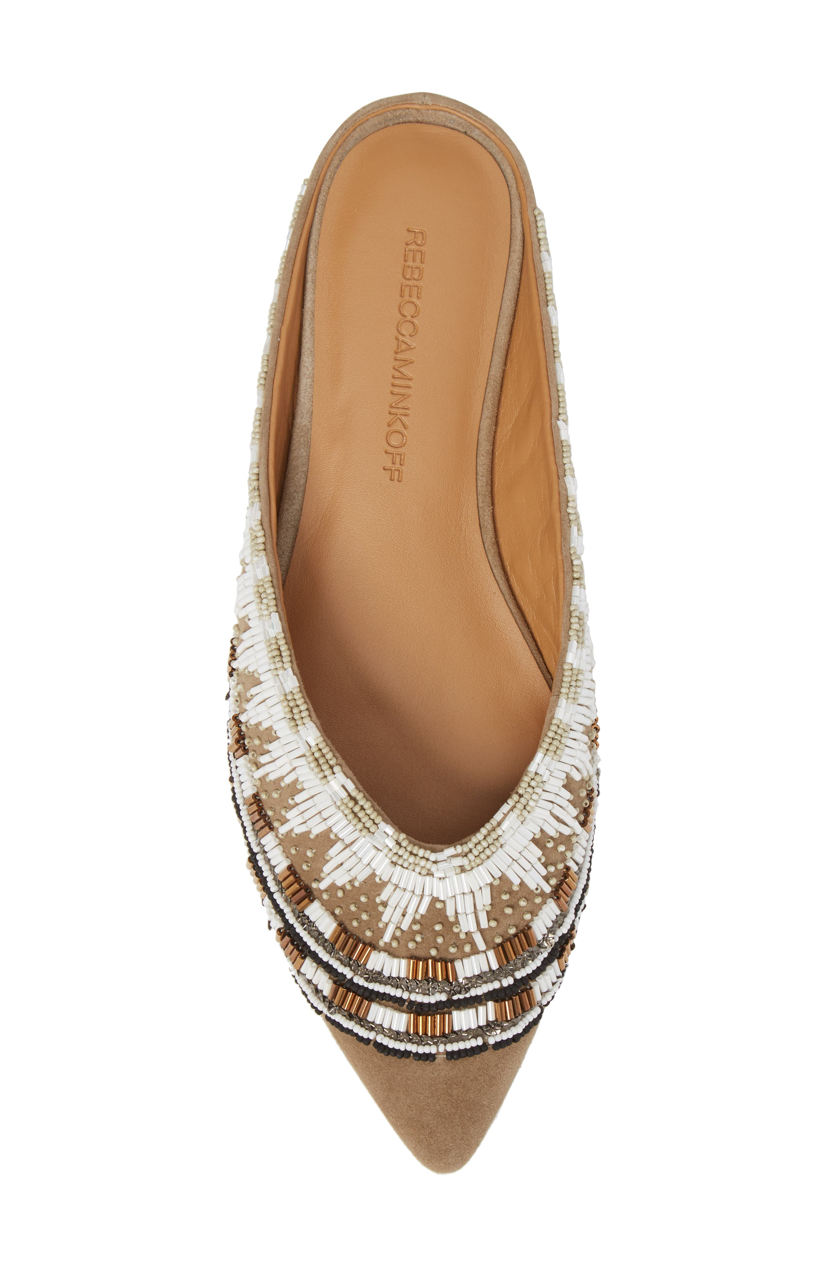 Roxane Beaded Flat Mule,                             Alternate thumbnail 5, color,                             TAUPE SUEDE