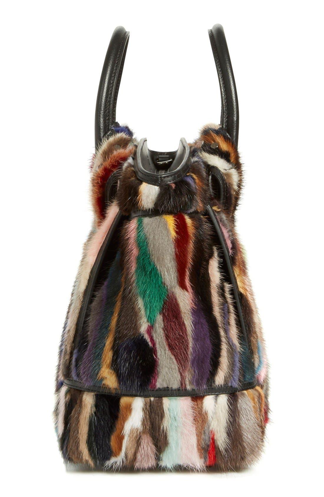 CHRISTIAN LOUBOUTIN,                             'Large Eloise' Studded Leather & Genuine Mink Fur Satchel,                             Alternate thumbnail 3, color,                             002