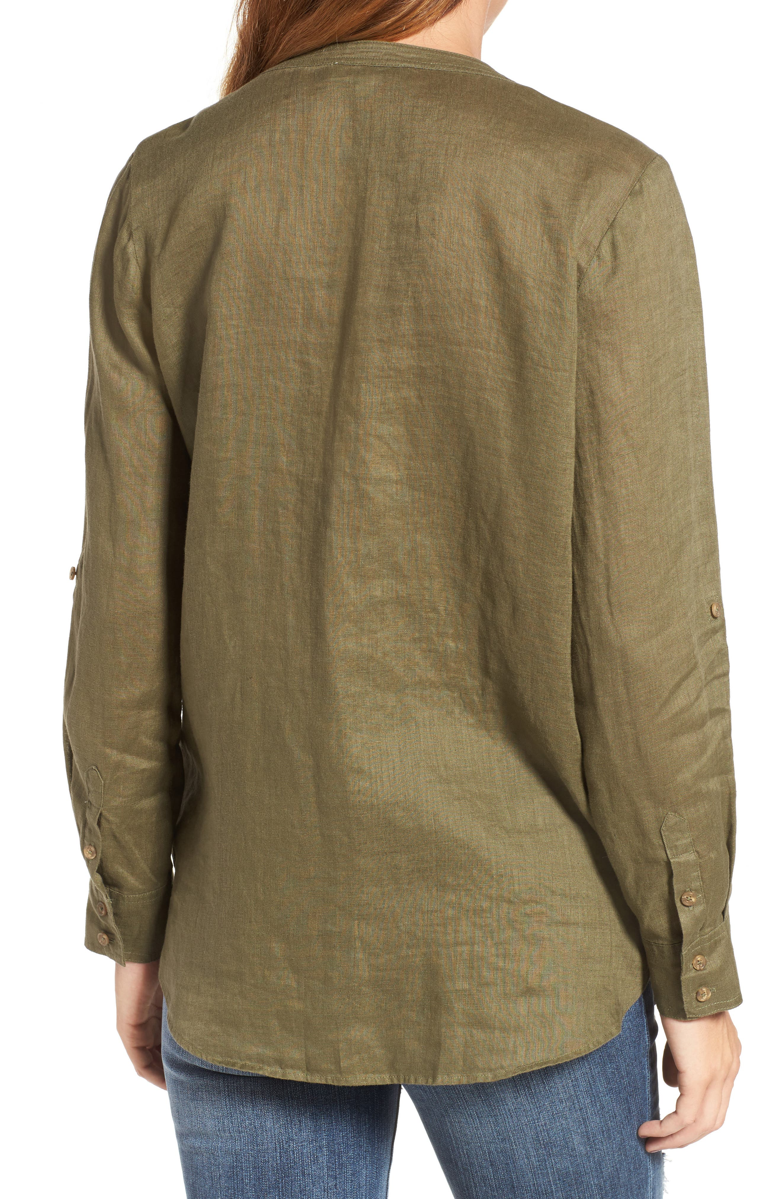 Two by Vince Camuto Collarless Linen Shirt,                             Alternate thumbnail 20, color,