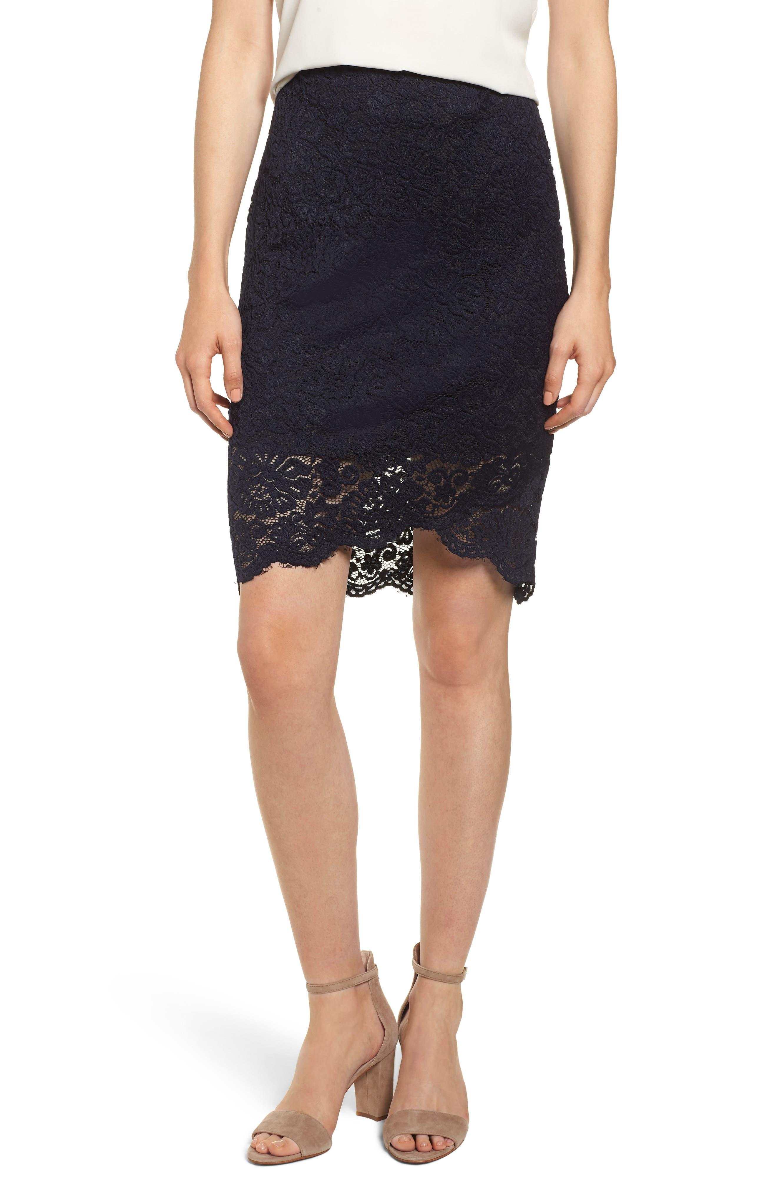 Lace Pencil Skirt,                         Main,                         color, DARK BLUE