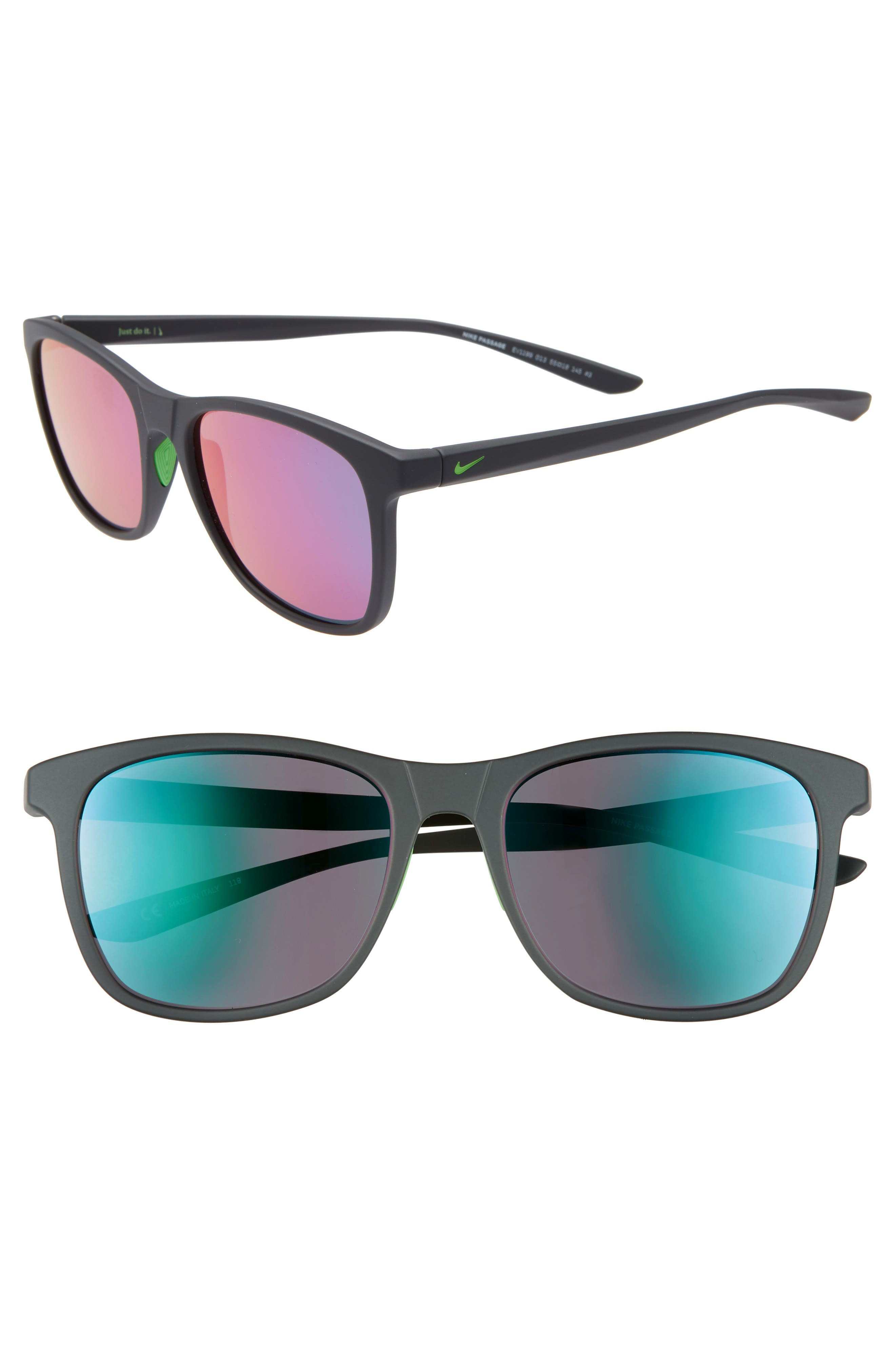 Nike Passage 55Mm Square Sunglasses - Matte Dark Grey/ Teal/ Pink