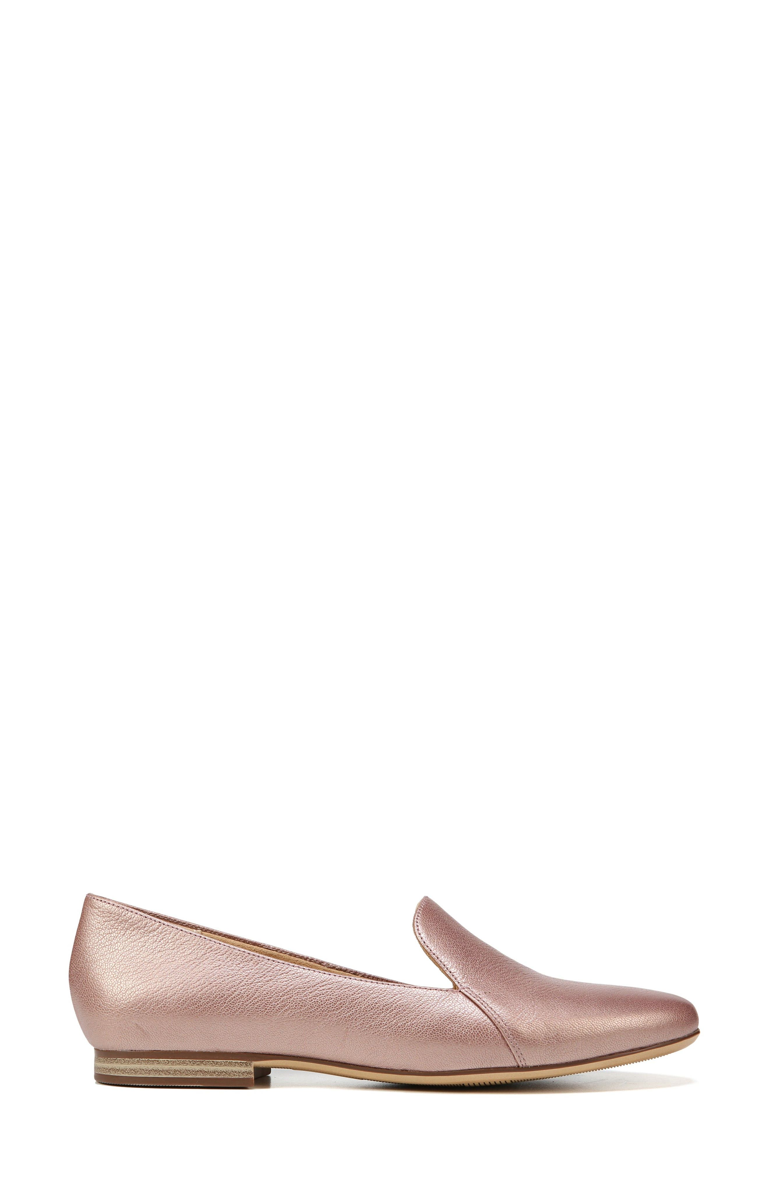 Emiline Flat Loafer,                             Alternate thumbnail 3, color,                             ROSE GOLD LEATHER