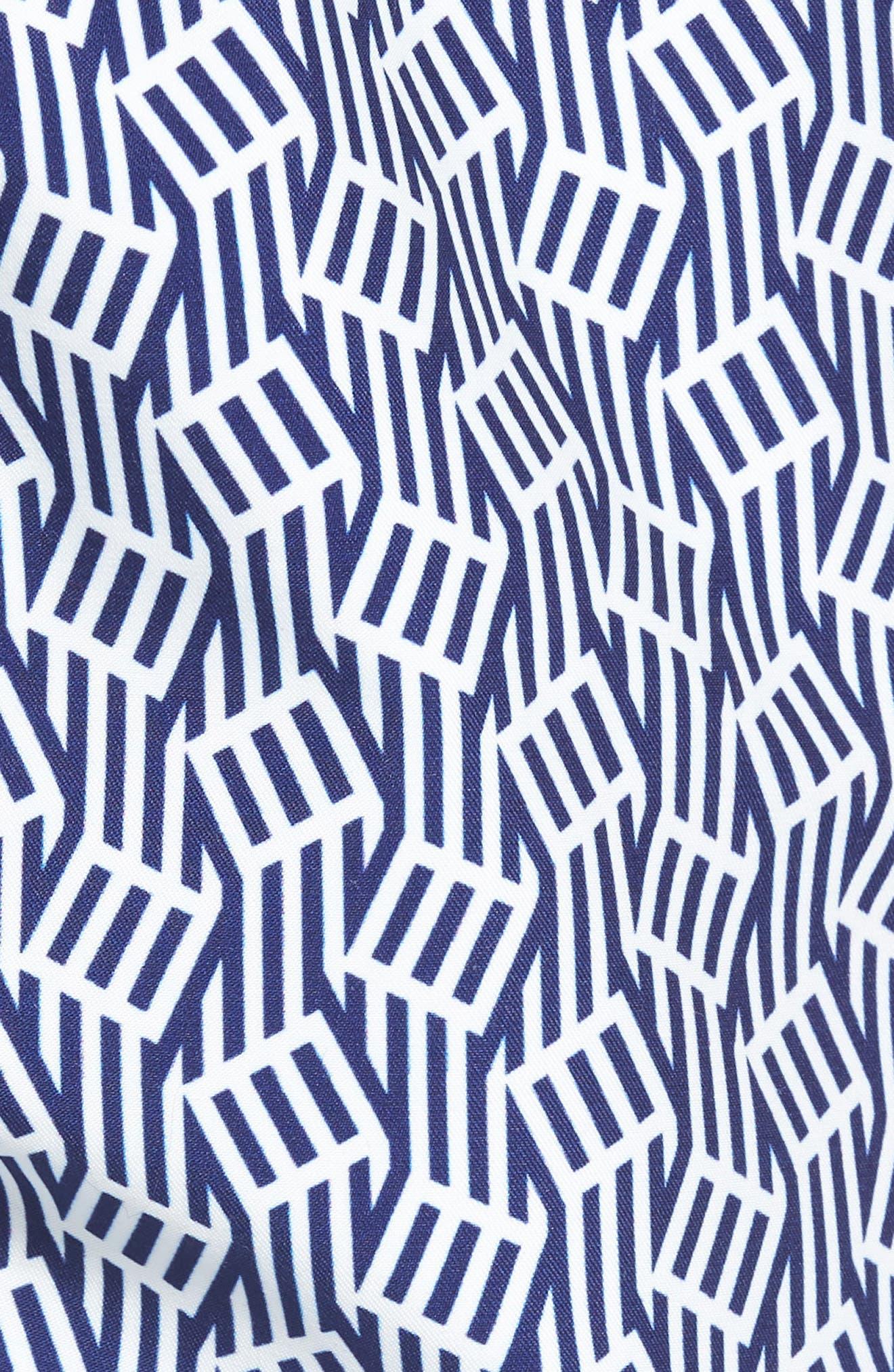 Abstract Leaf Print Swim Trunks,                             Alternate thumbnail 5, color,                             100