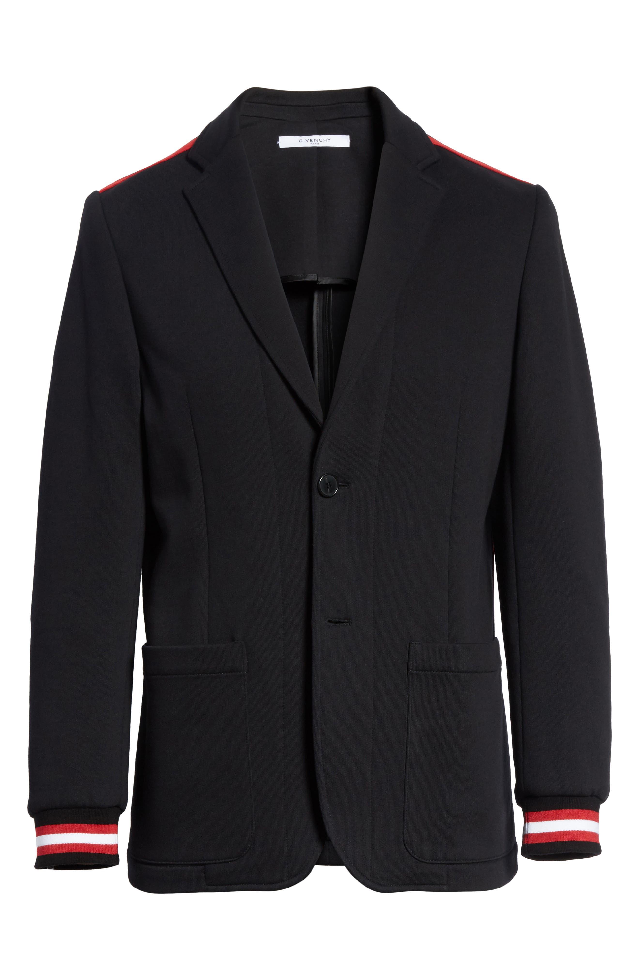 Stripe Trim Jersey Sport Coat,                             Alternate thumbnail 5, color,                             001