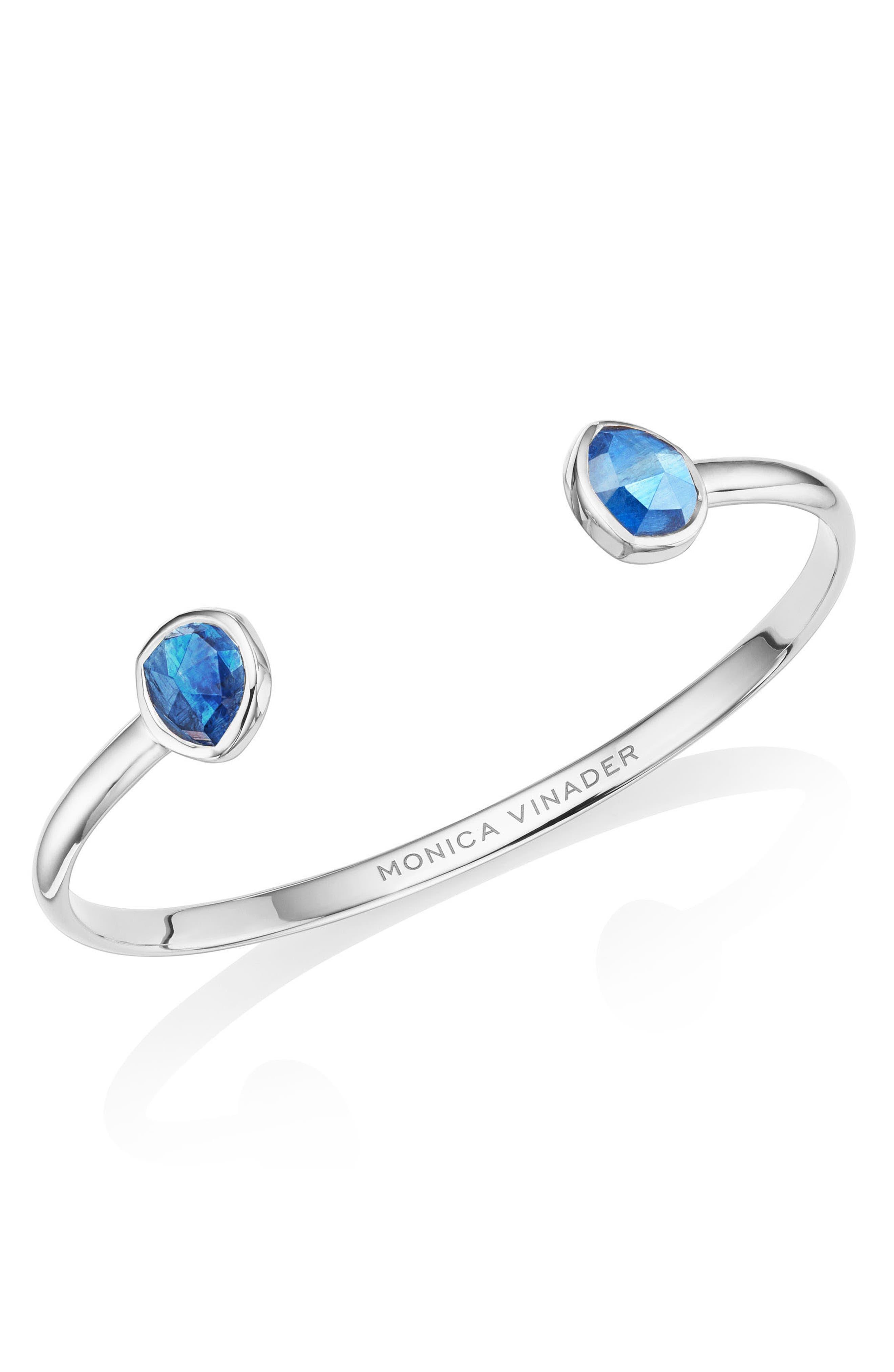 MONICA VINADER Siren Thin Cuff Bracelet, Main, color, SILVER/ KYANITE