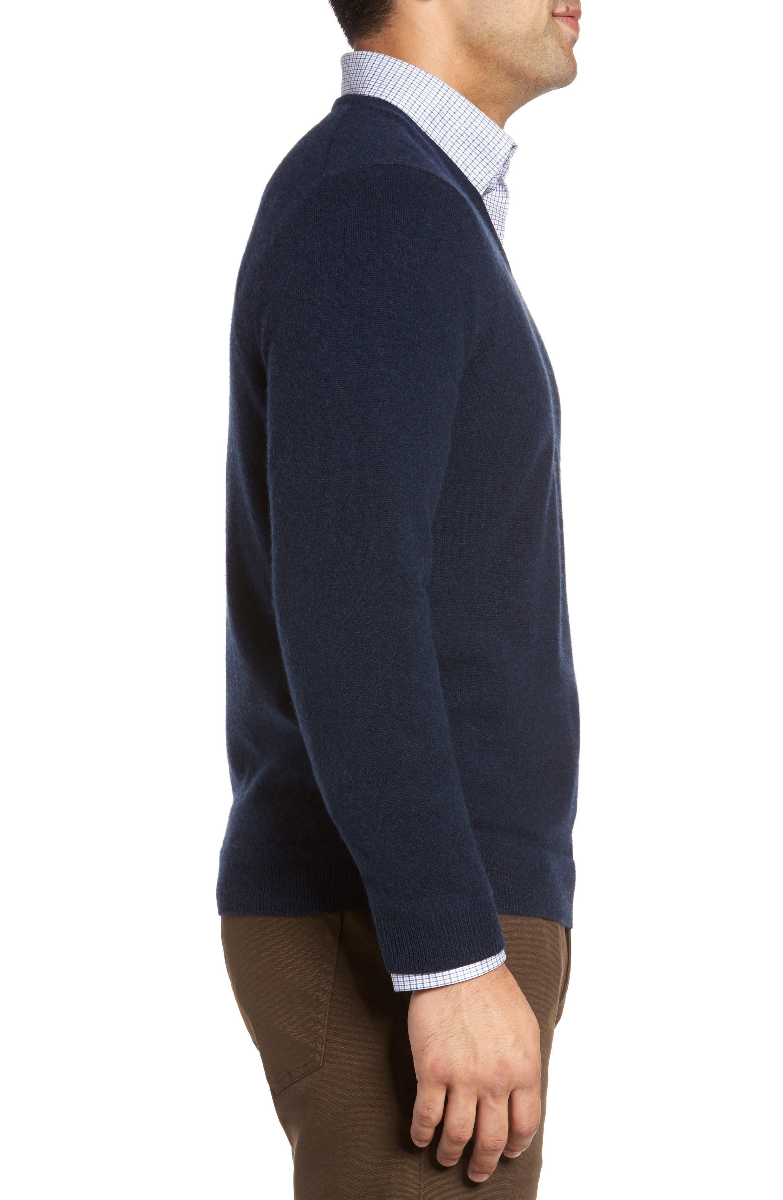 John W. Nordstrom Cashmere V-Neck Sweater,                             Alternate thumbnail 4, color,                             BLUE ESTATE HEATHER