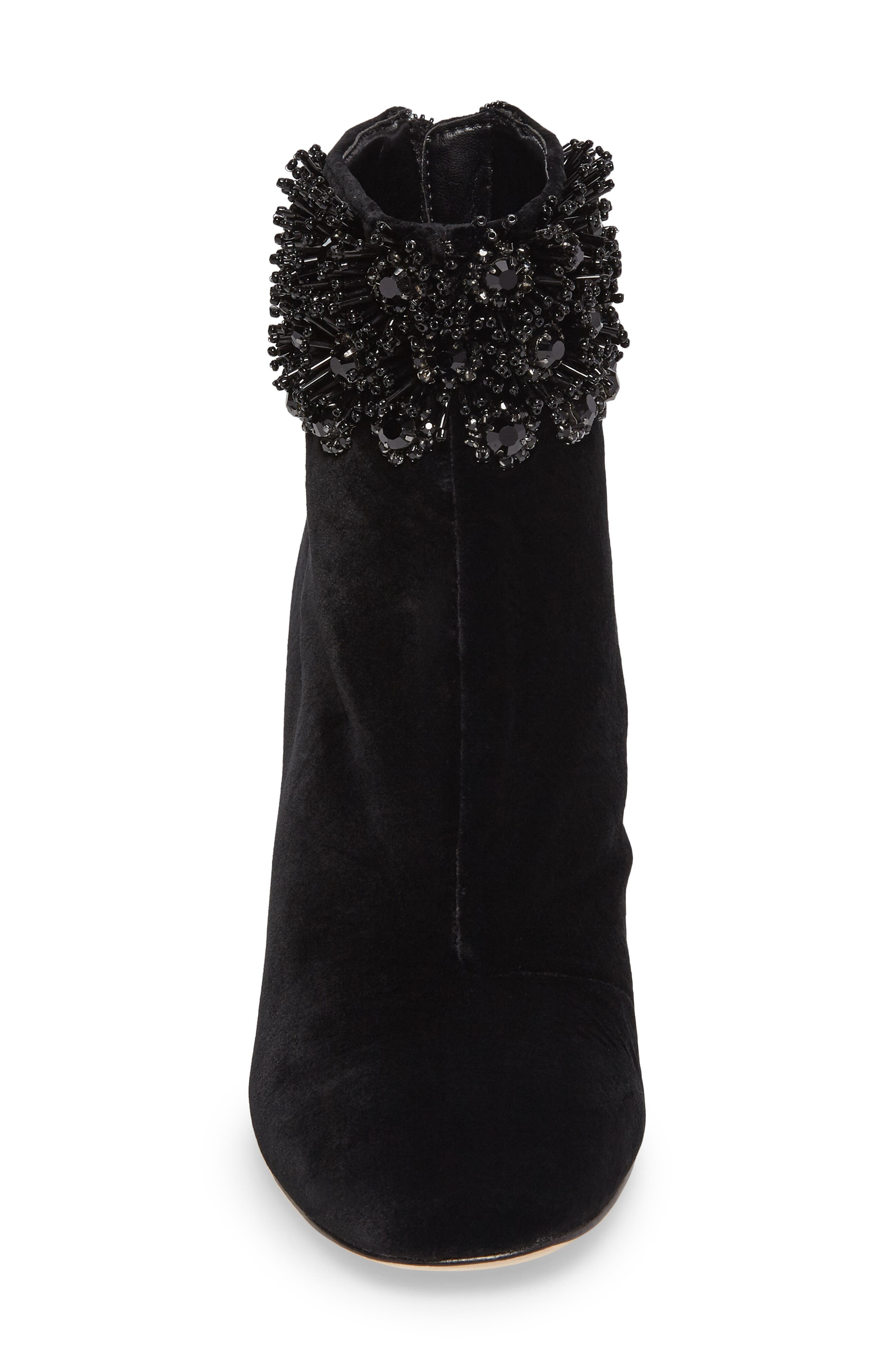 Imagine Vince Camuto Lura Crystal Flower Bootie,                             Alternate thumbnail 4, color,                             001
