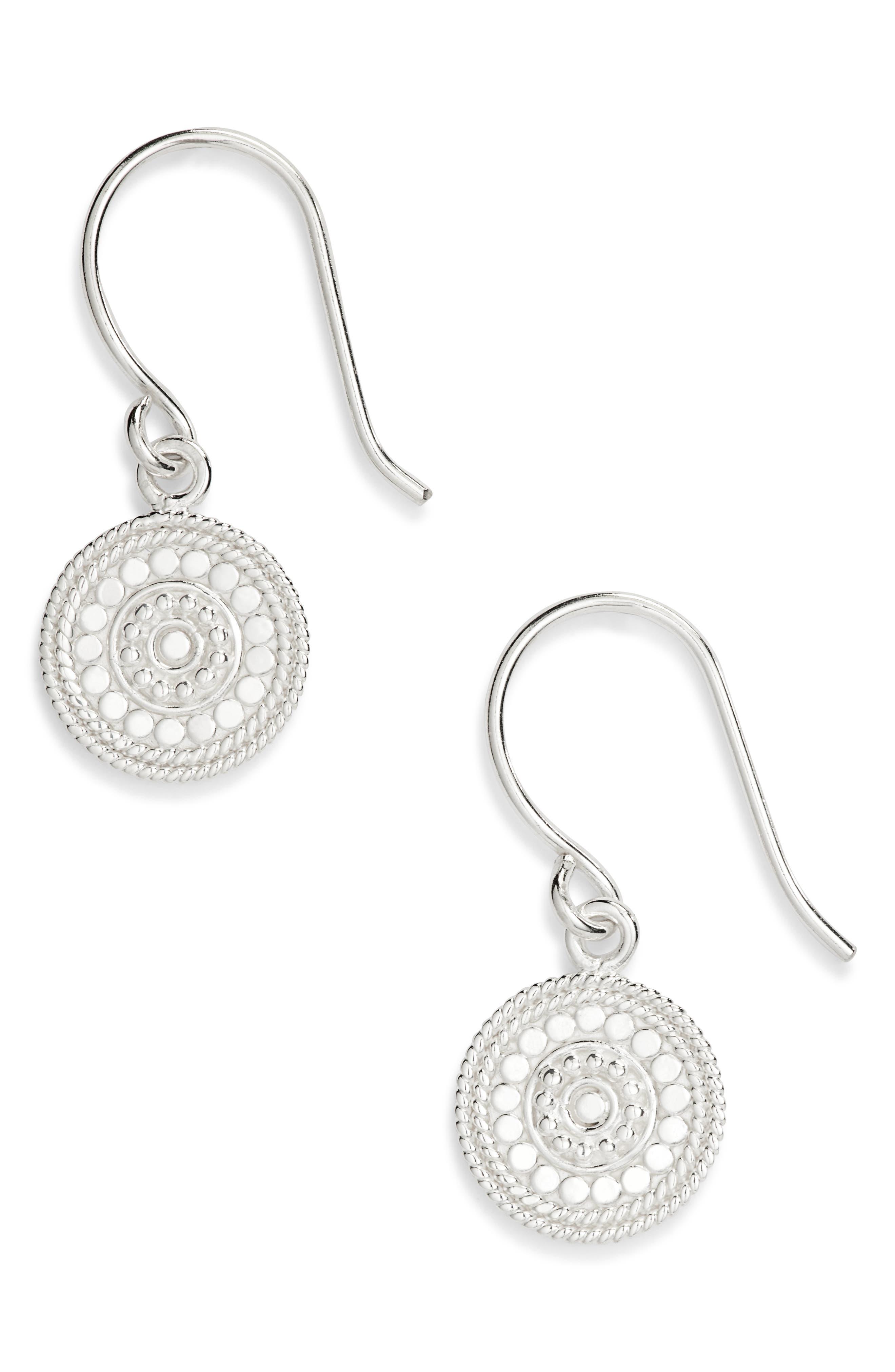 ANNA BECK Beaded Circle Drop Earrings in Gray