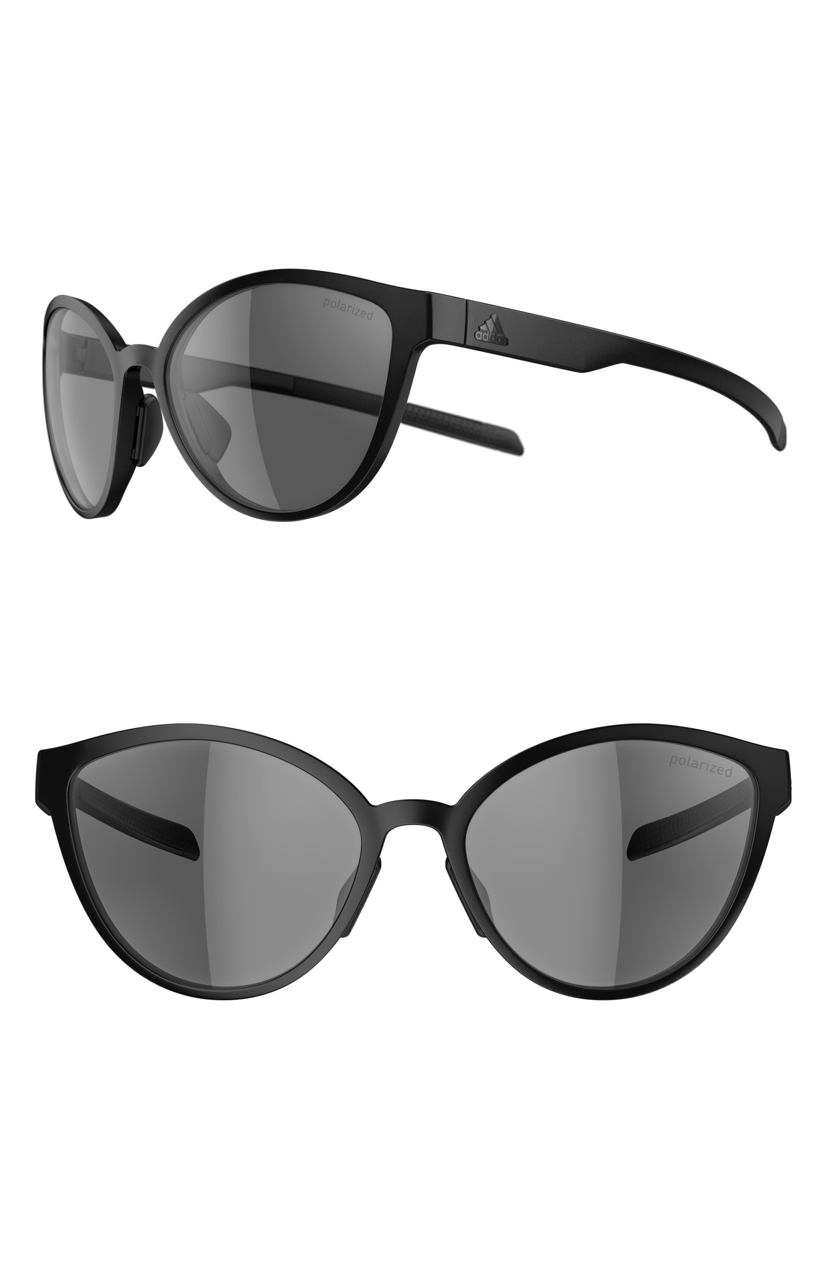 Tempest 56mm Polarized Running Sunglasses,                             Main thumbnail 1, color,                             BLACK MATTE/ GREY