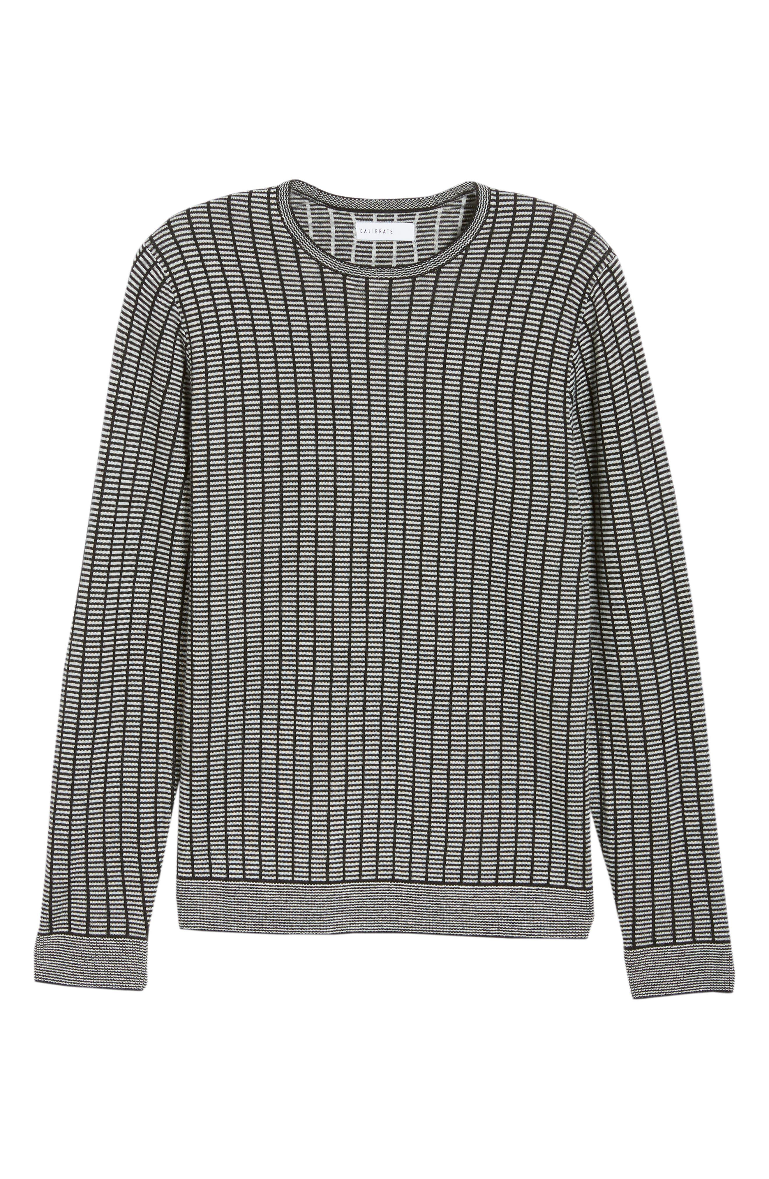 Grid Crewneck Sweater,                             Alternate thumbnail 6, color,                             BLACK CAVIAR