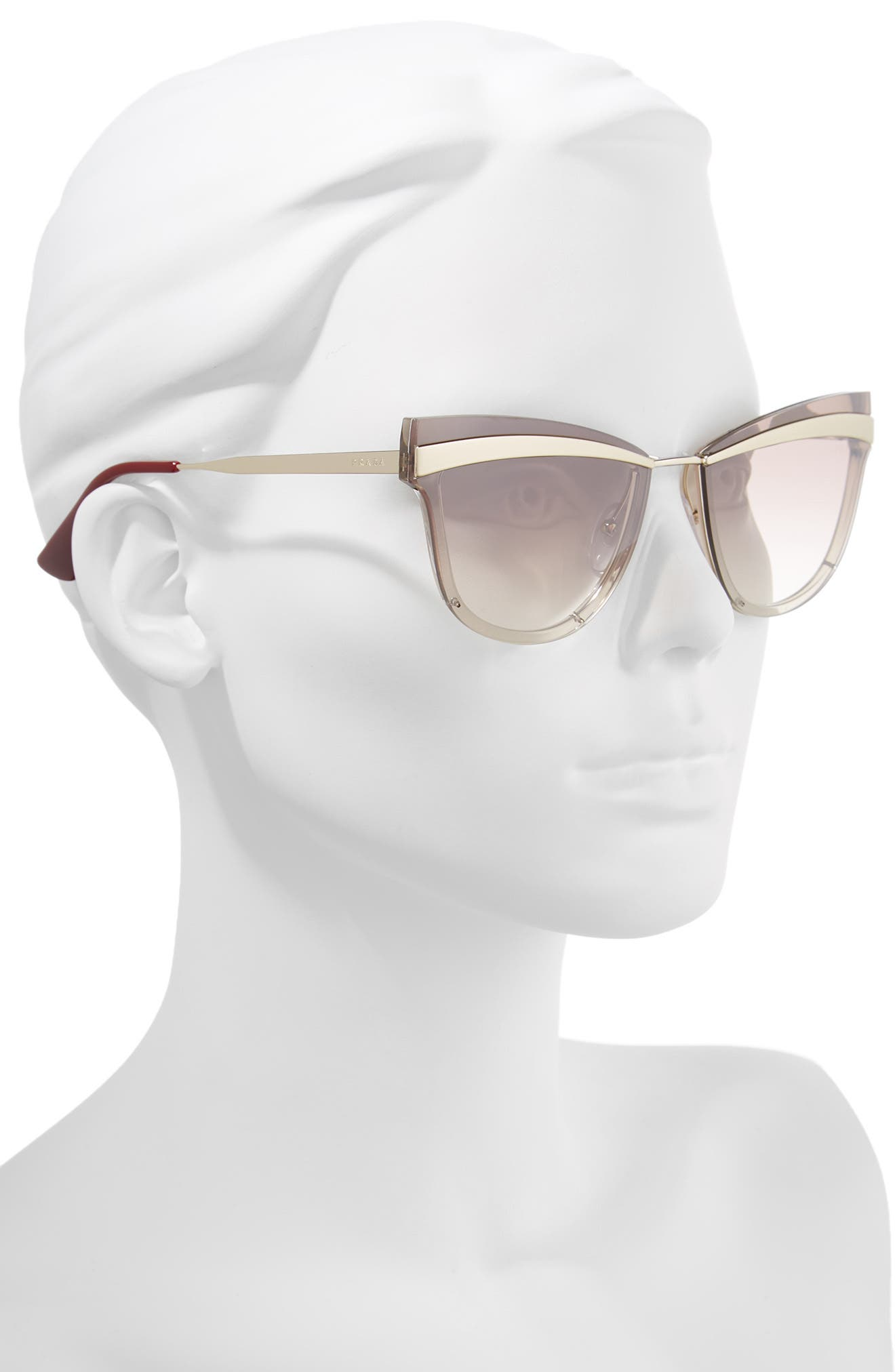 Cinema Evolution 65mm Cat Eye Sunglasses,                             Alternate thumbnail 2, color,                             BEIGE GRADIENT MIRROR