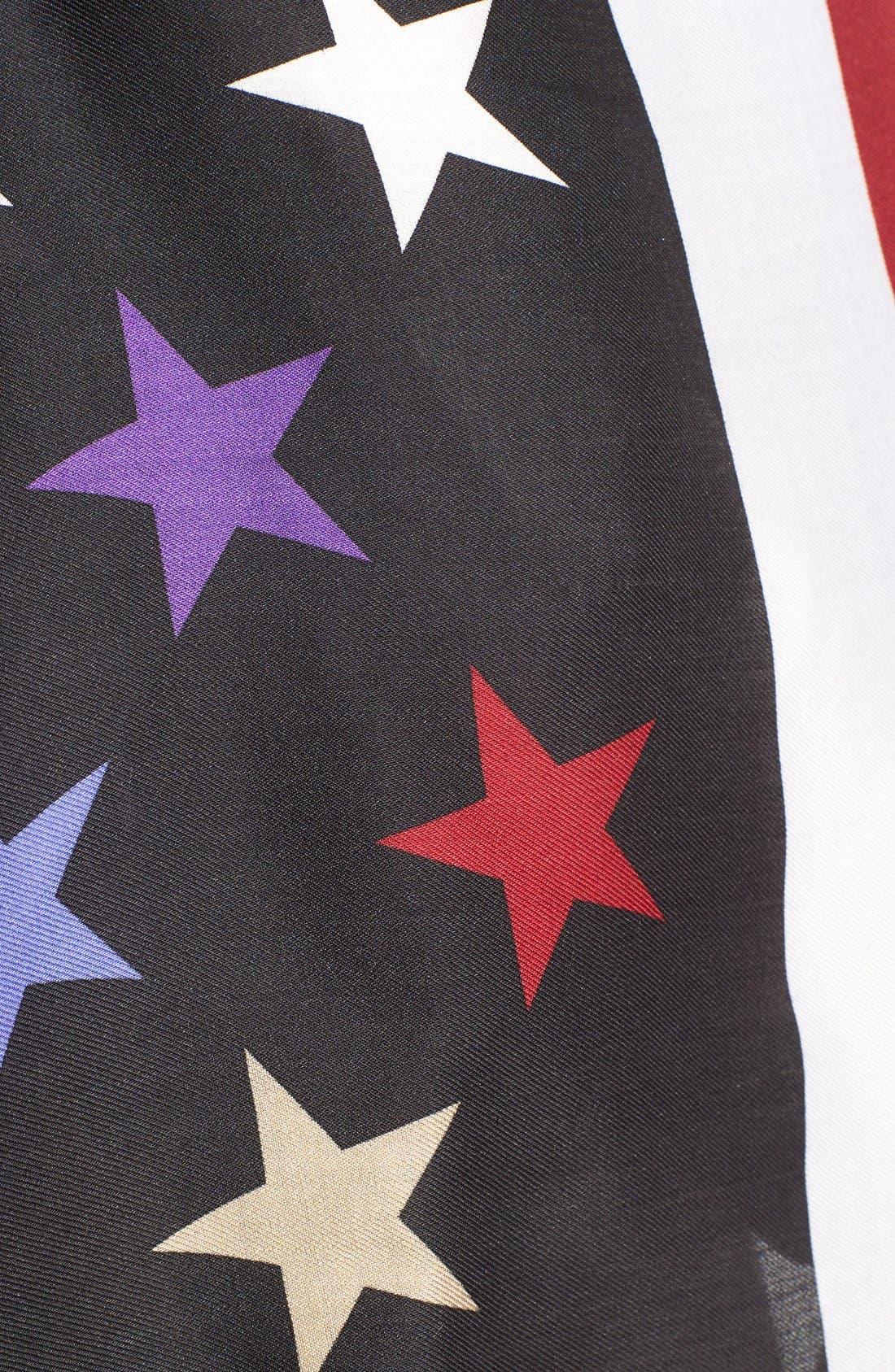 'American Flag' Wool & Silk Scarf,                             Alternate thumbnail 3, color,                             001