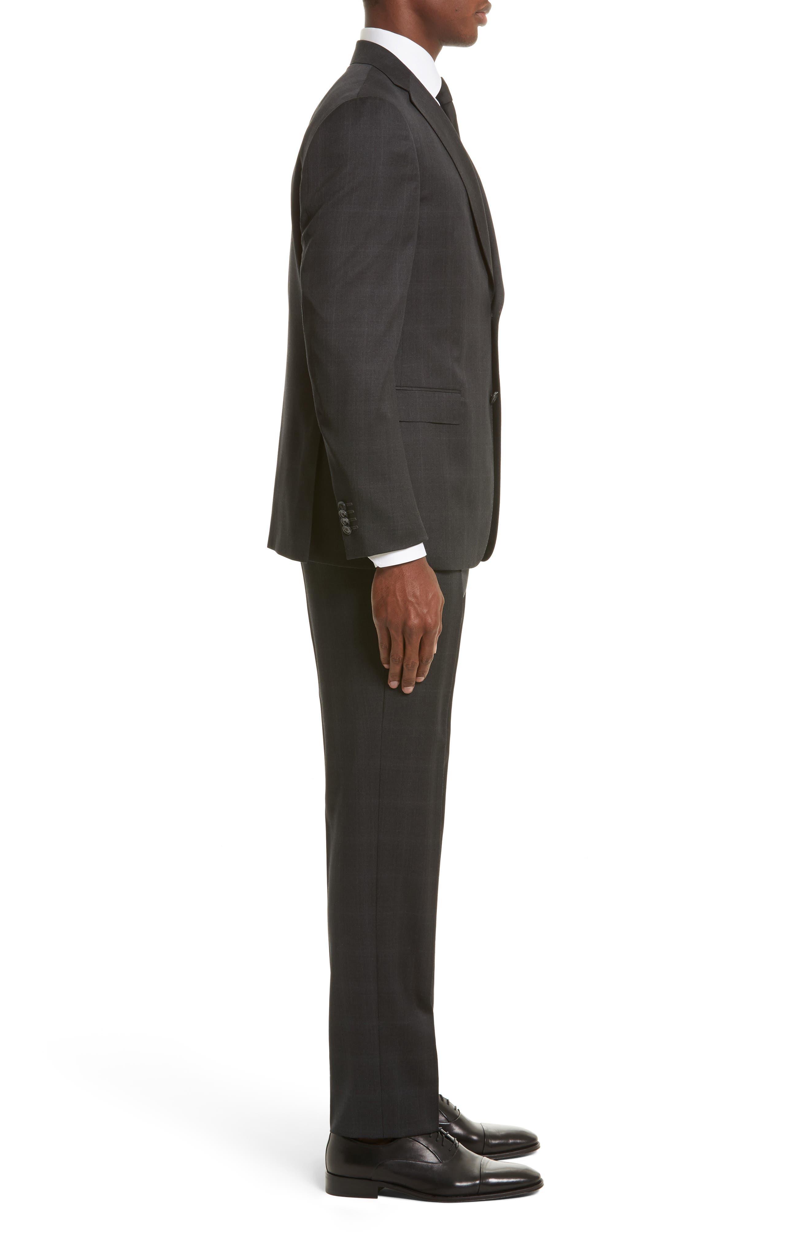 Drop 7 Trim Fit Plaid Wool Suit,                             Alternate thumbnail 3, color,                             026