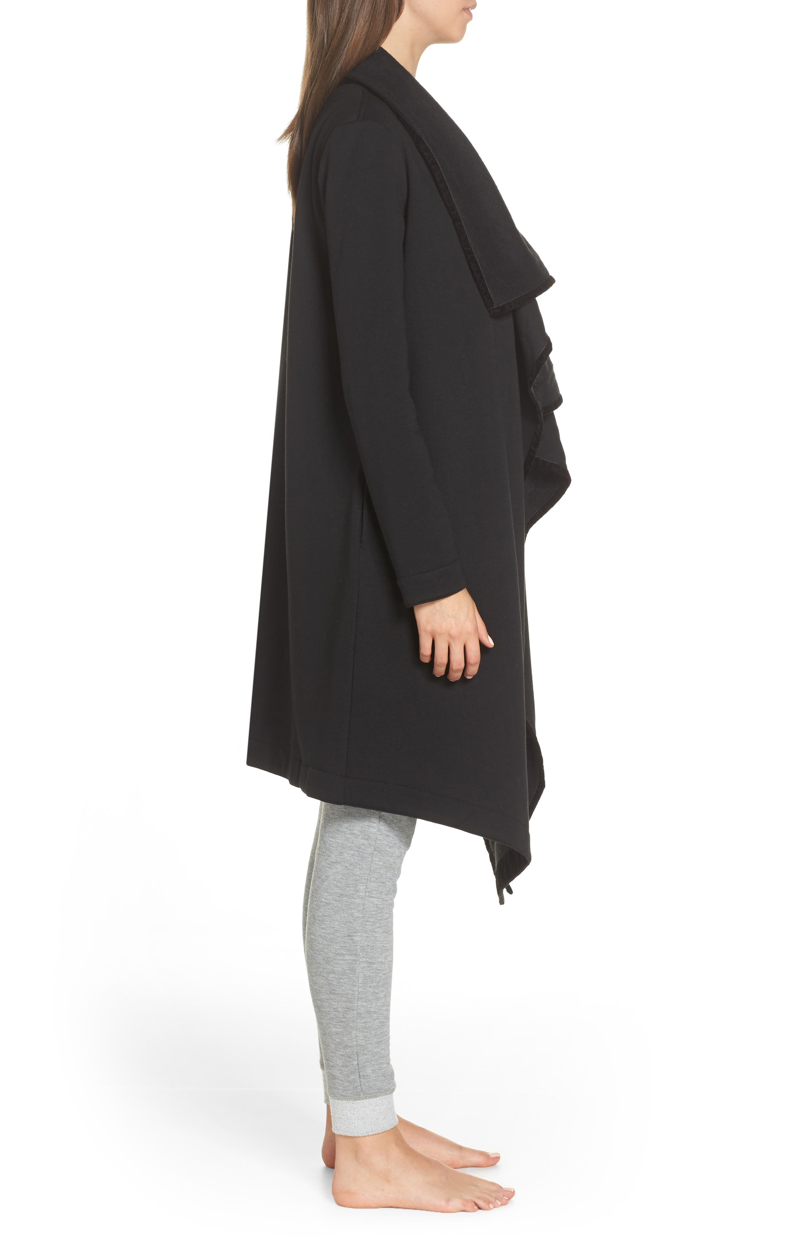 Janni Fleece Cardigan,                             Alternate thumbnail 3, color,                             BLACK