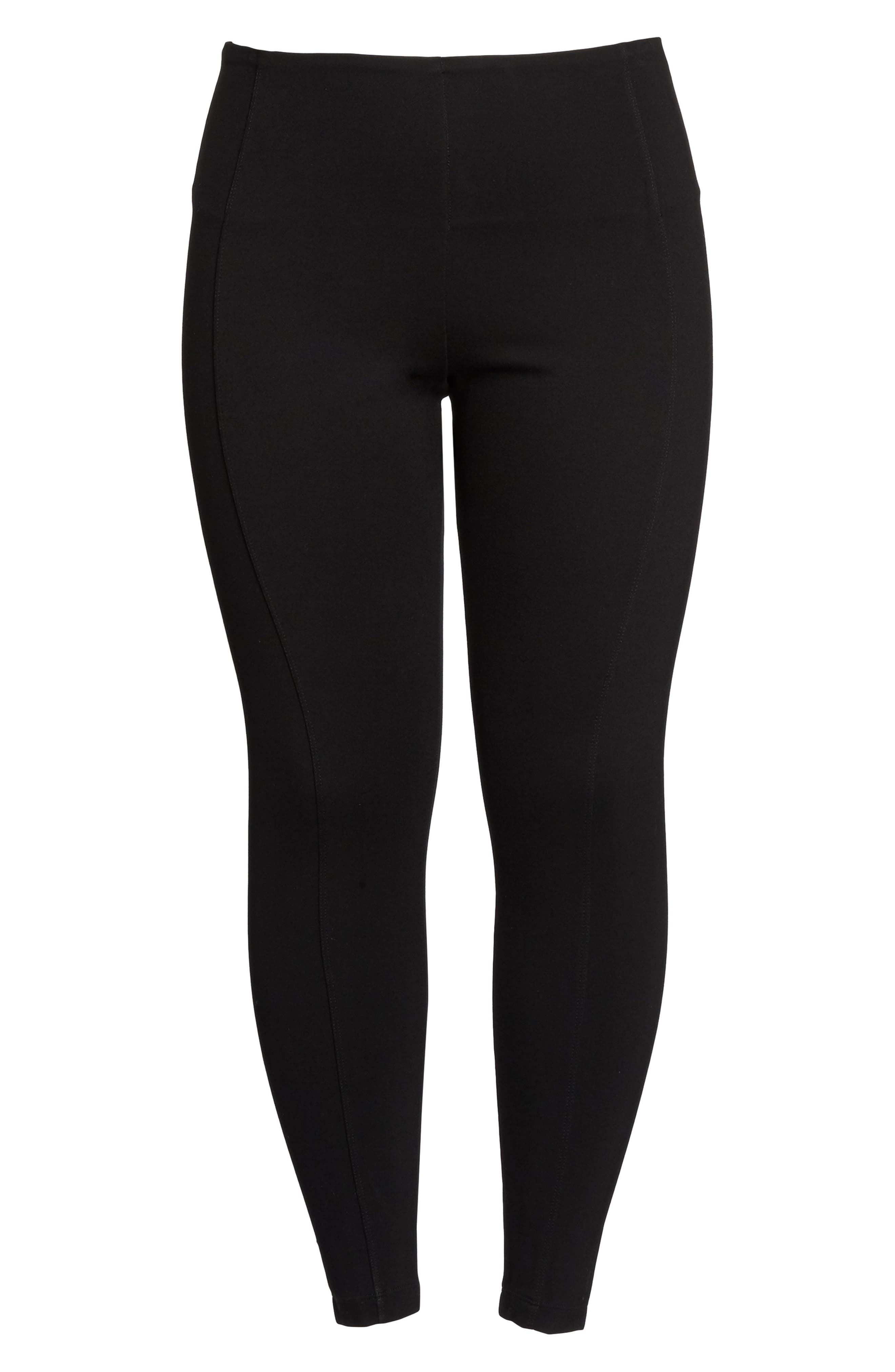 Mara Seamed Ponte Leggings,                             Alternate thumbnail 6, color,                             001