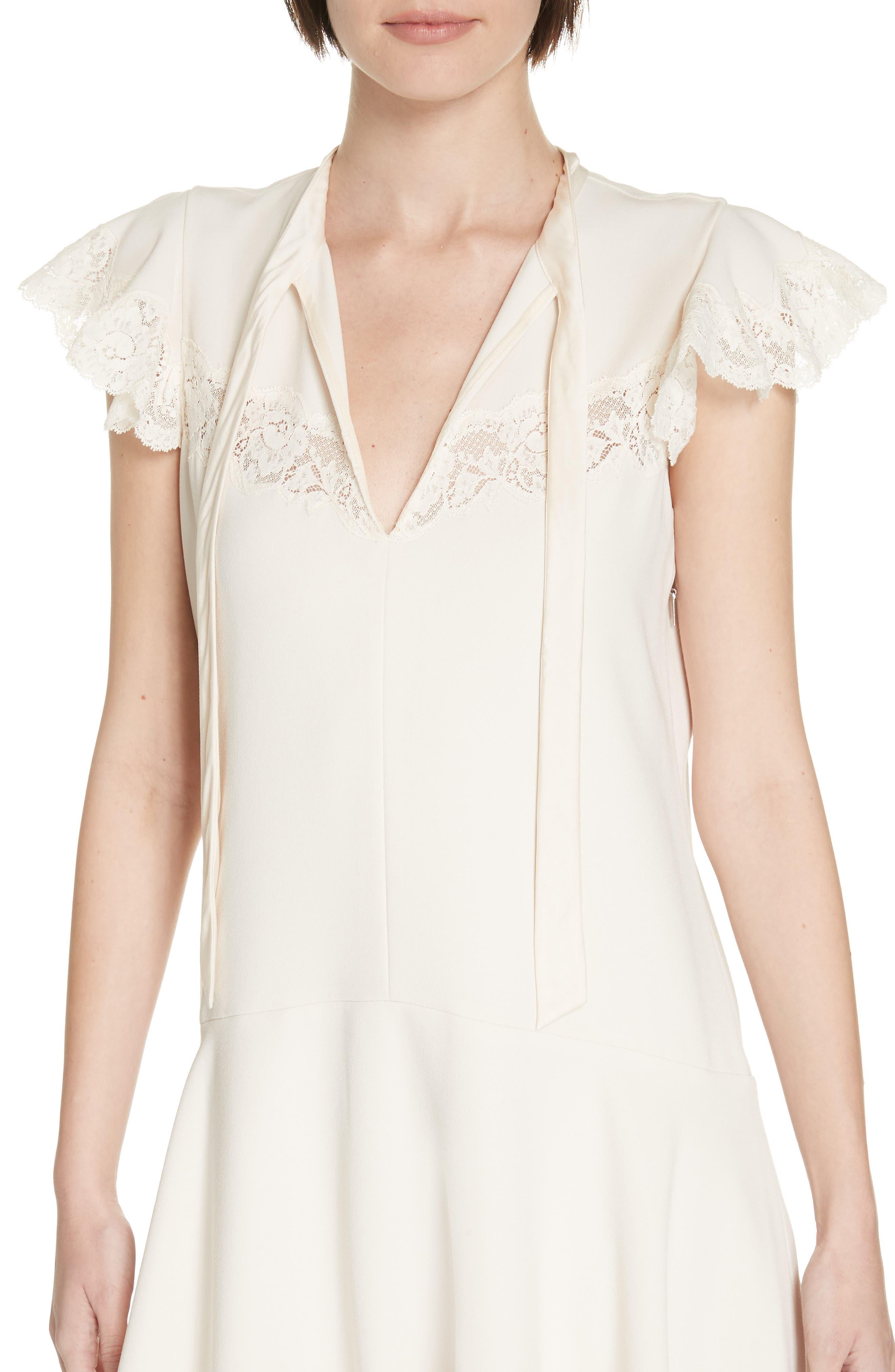 Lace Detail Tie Neck Dress,                             Alternate thumbnail 4, color,                             CREAM