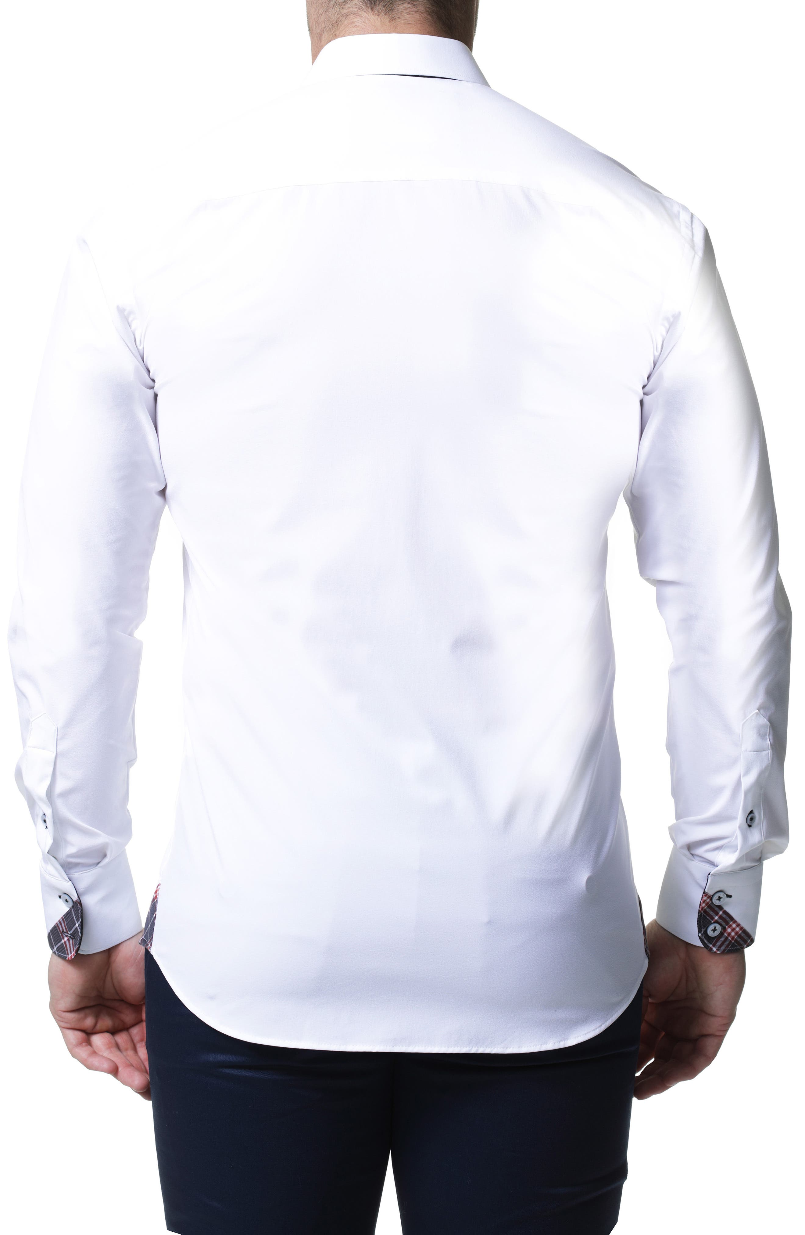 Wall Street 4-Way Stretch White Check Performance Sport Shirt,                             Alternate thumbnail 2, color,                             WHITE