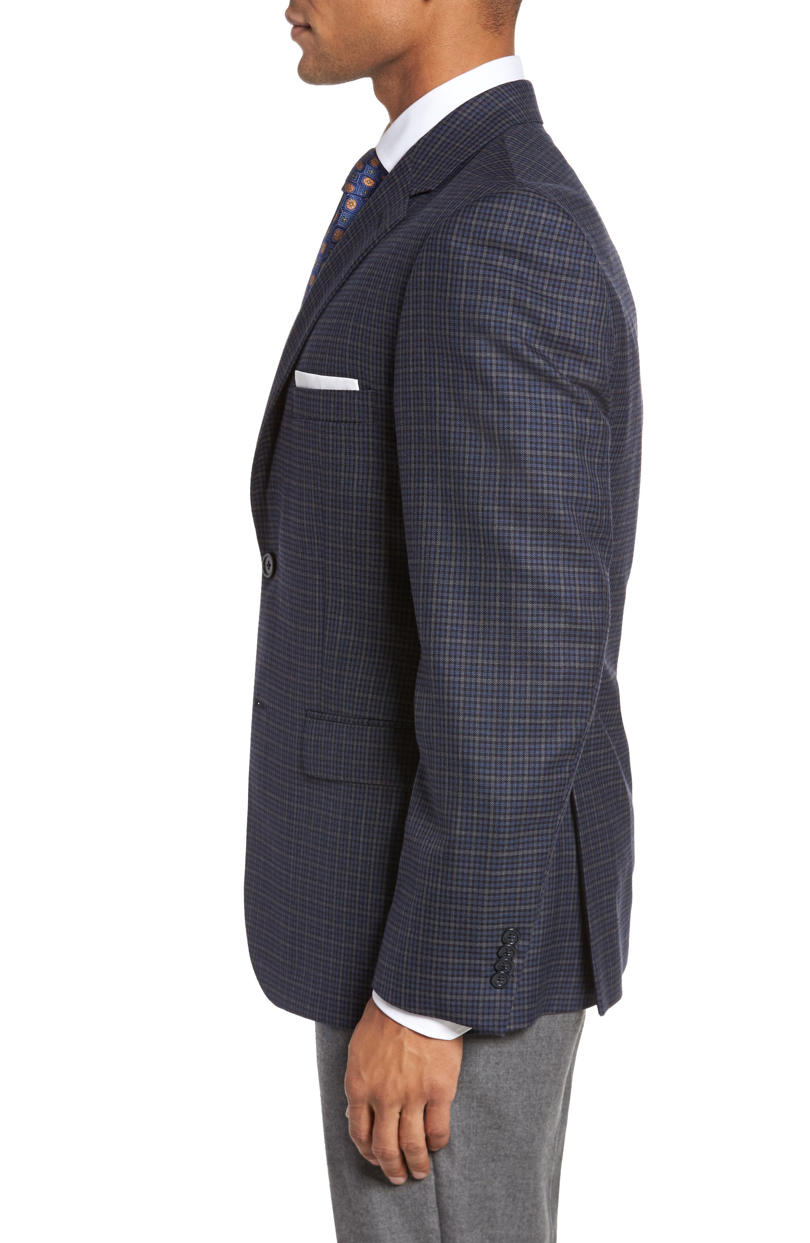 Classic Fit Check Wool Sport Coat,                             Alternate thumbnail 3, color,                             422