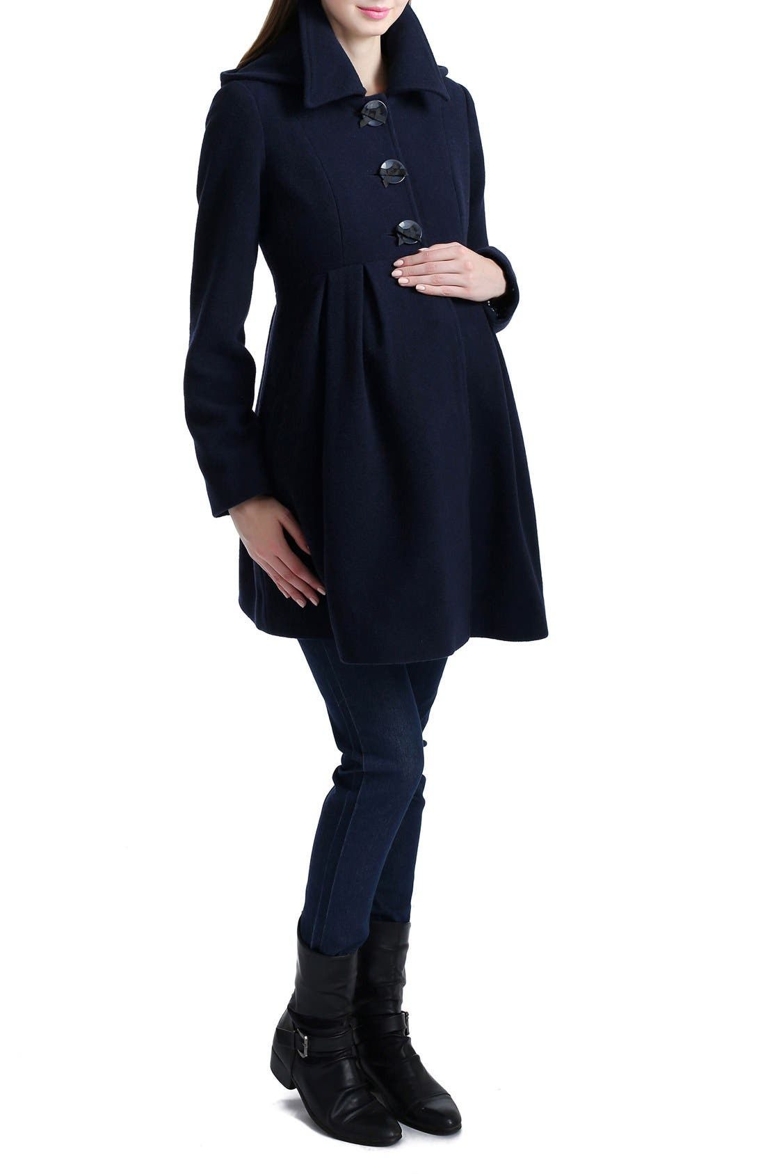 Faye Hooded Maternity Peacoat,                             Alternate thumbnail 3, color,                             NAVY
