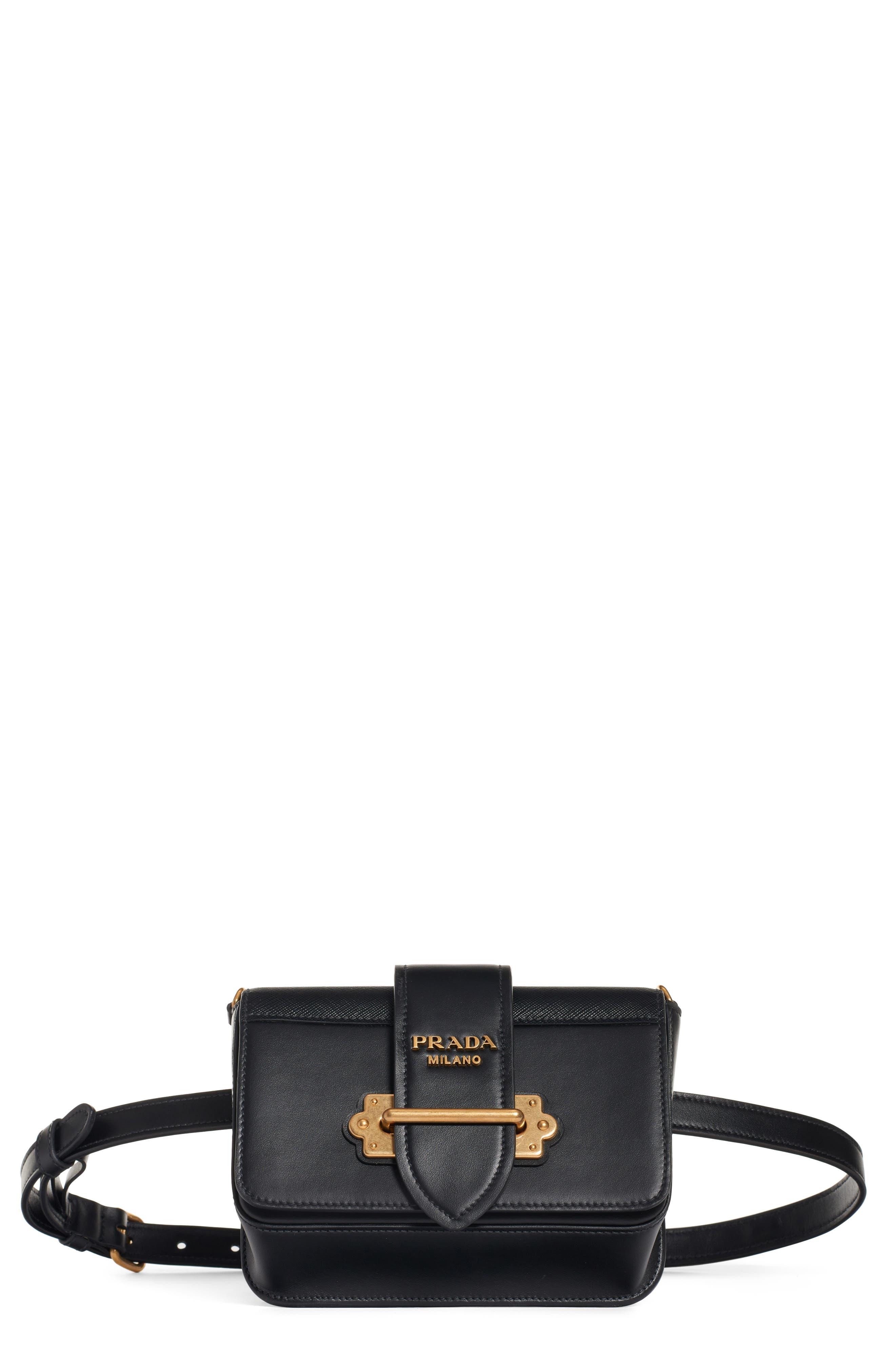 PRADA Cahier Leather Belt Bag, Main, color, 001