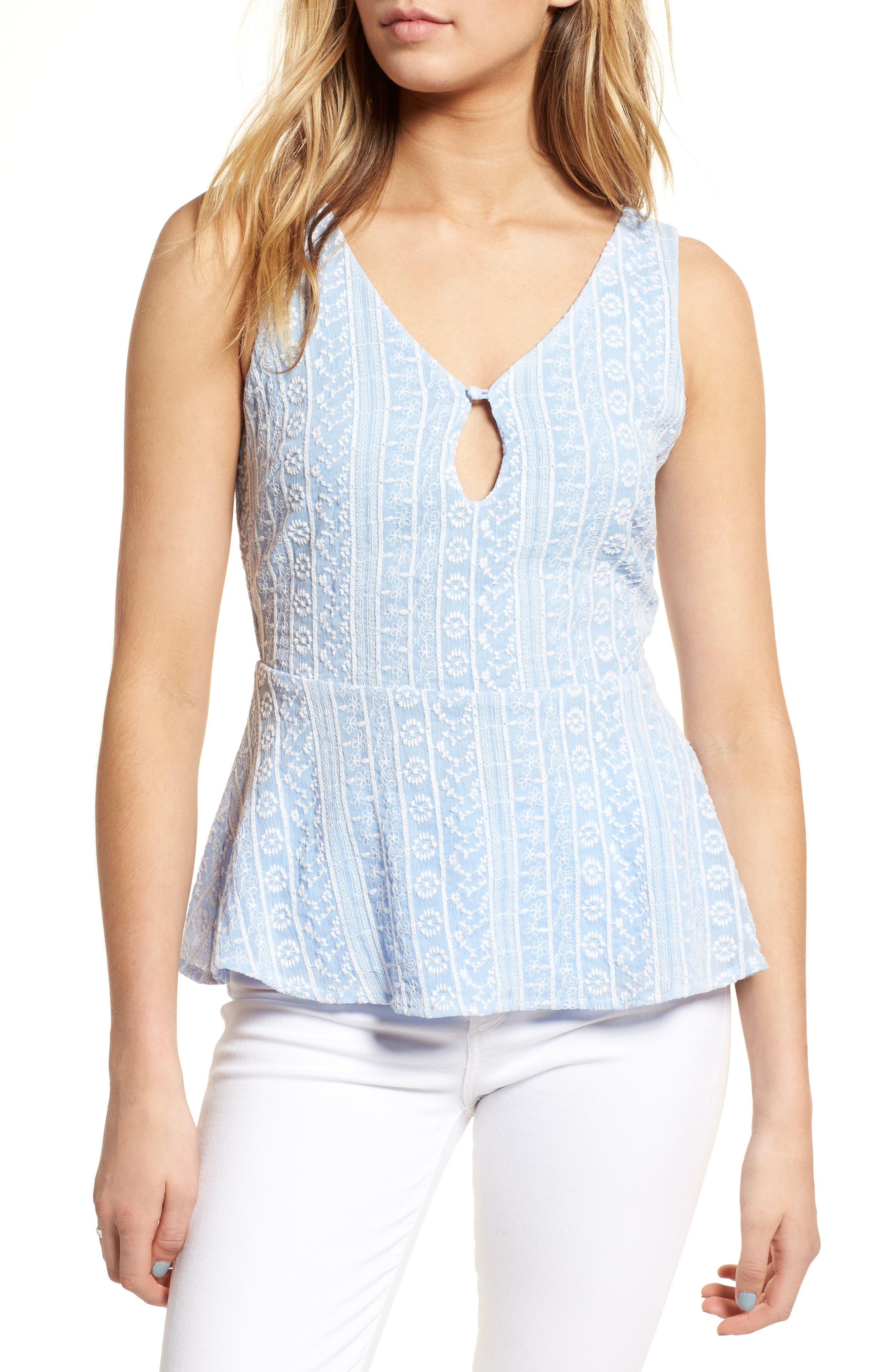 Brian Embroidered Peplum Tank,                             Main thumbnail 1, color,                             450